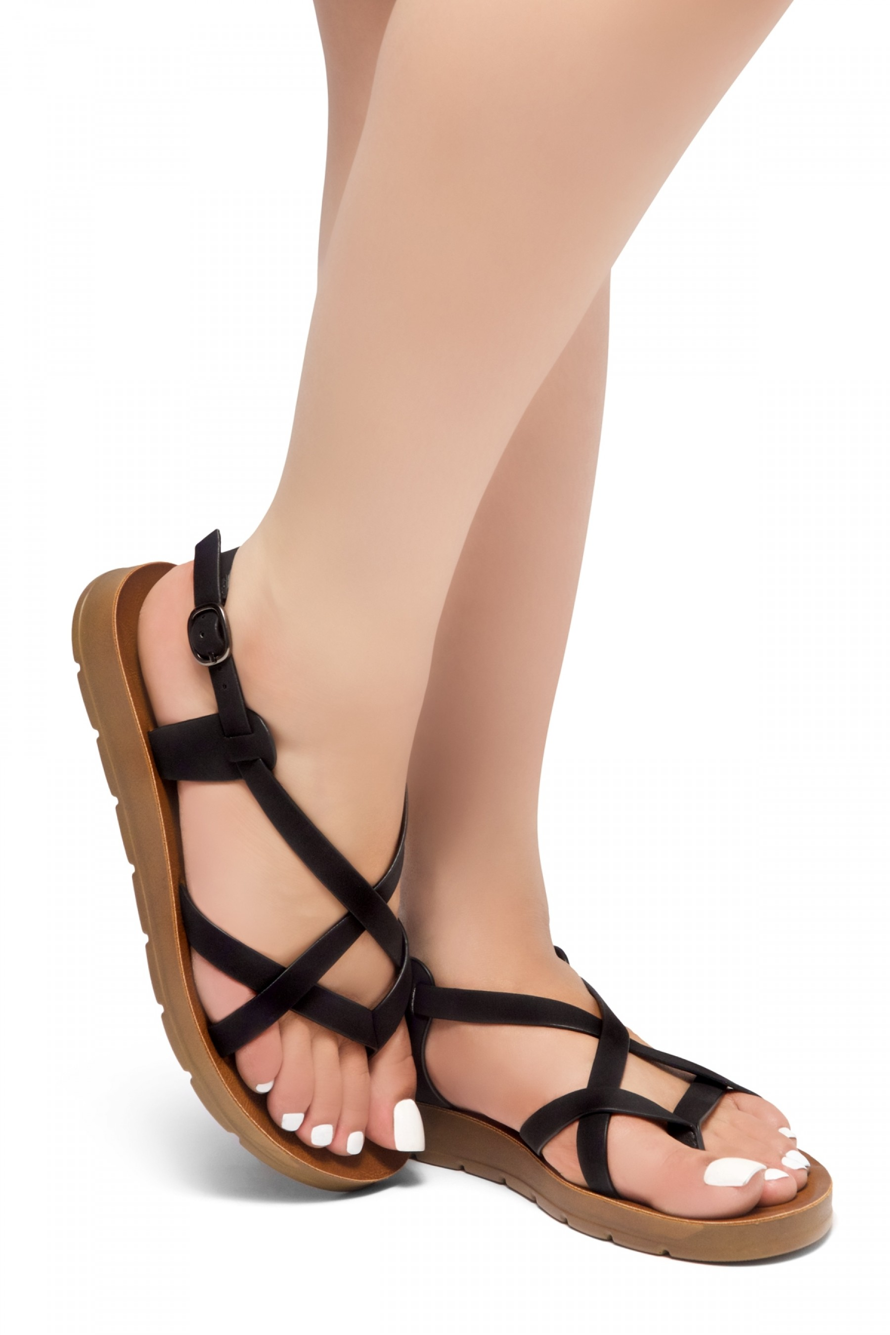 HerStyle SMOOTH MOVE- Flat Sandal with straps cross vamp(Black)