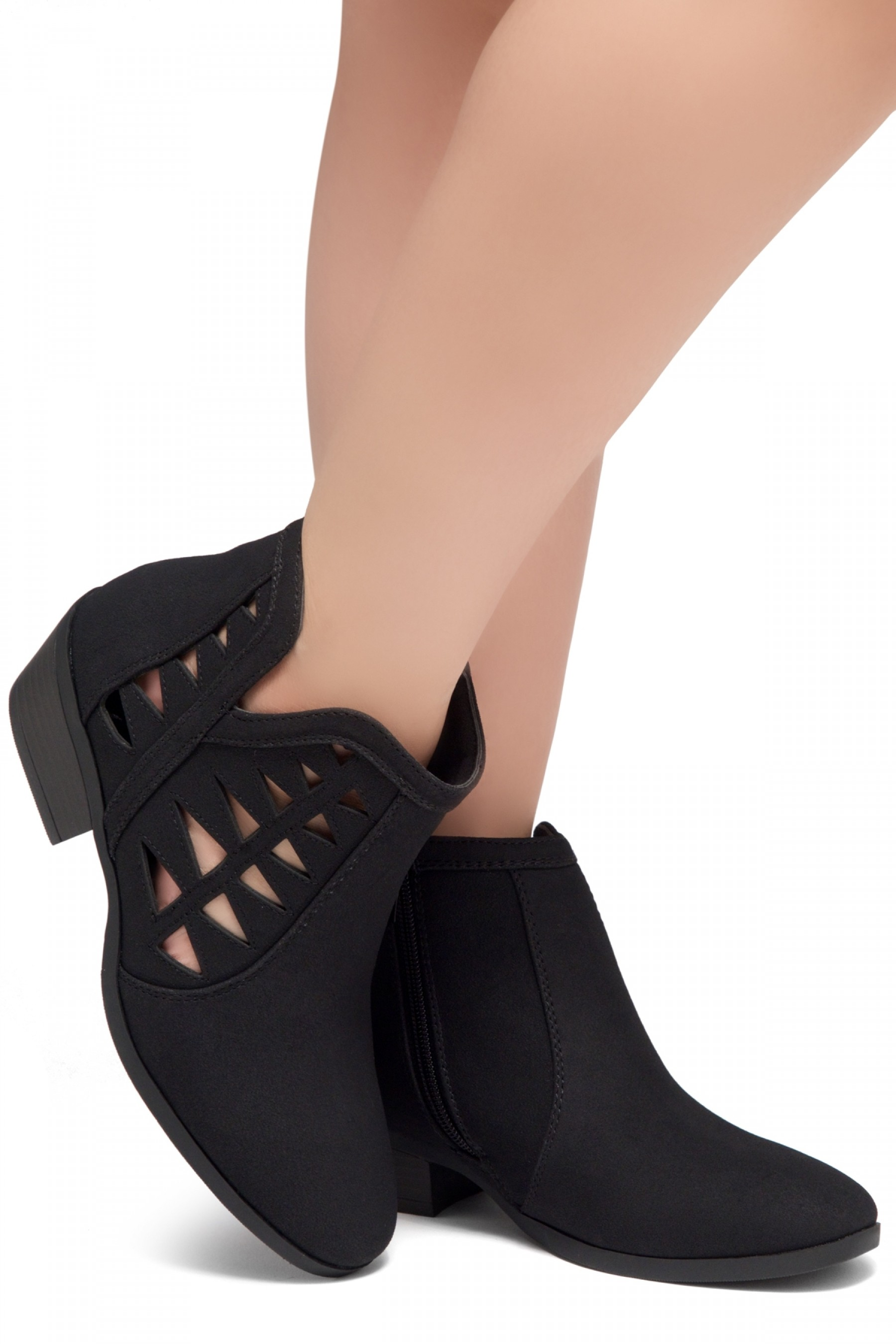 ShoeLand Sobrylla-Perforated Cutout Accents Stacked Low Heel Almond Toe Ankle Booties (Black)