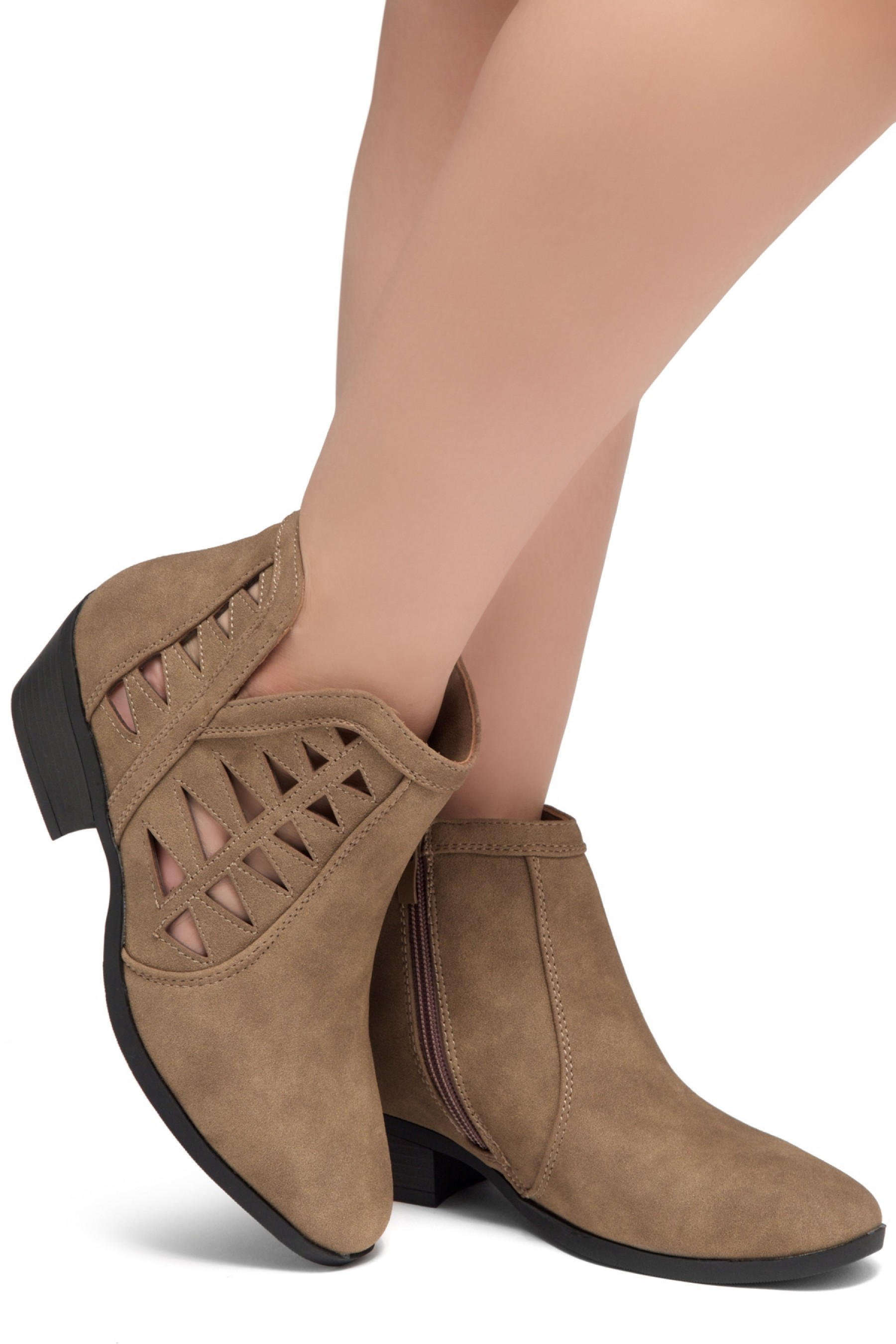 ShoeLand Sobrylla-Perforated Cutout Accents Stacked Low Heel Almond Toe Ankle Booties (Khaki)