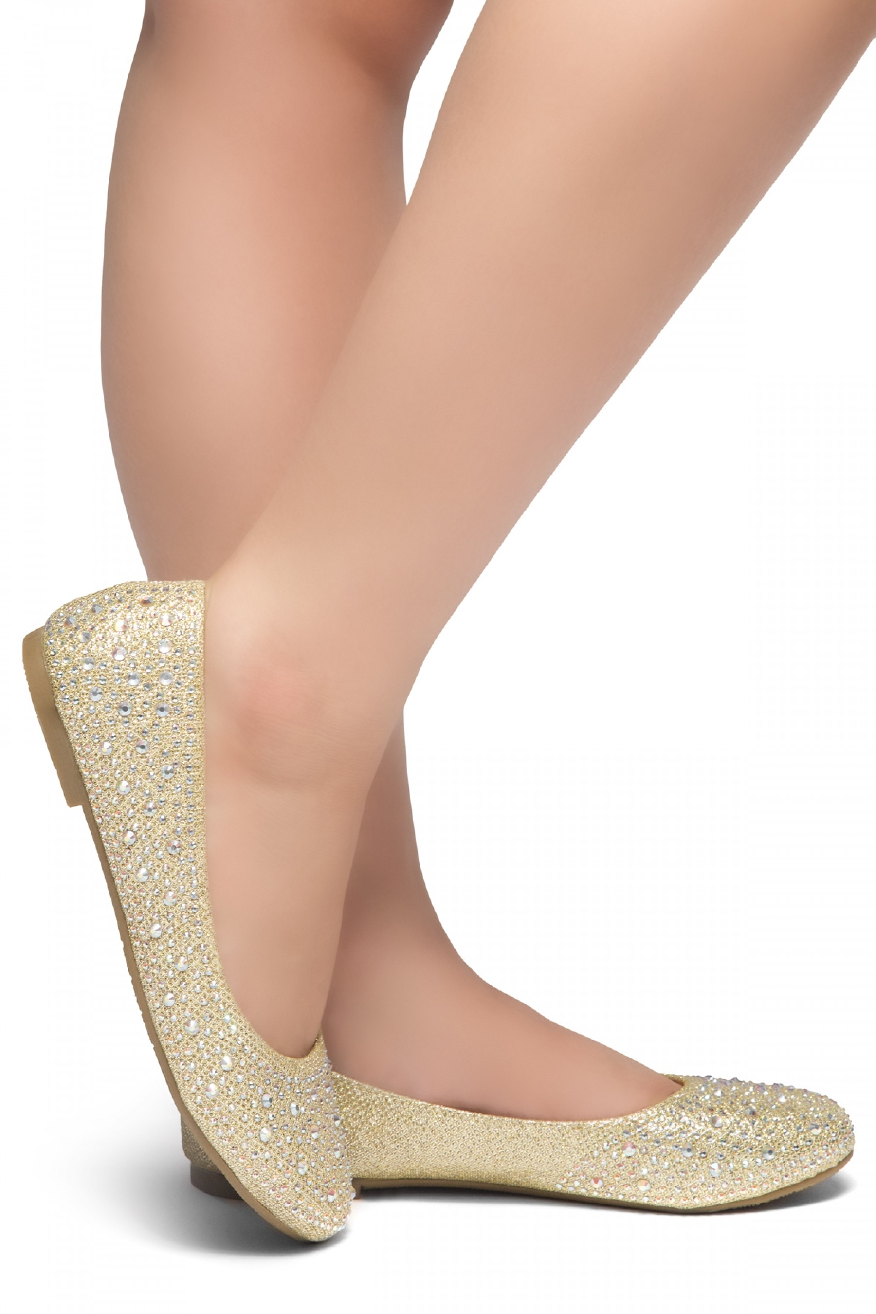 HerStyle SOLE-SHINE-Round toe, jeweled embellishments flats (Gold)
