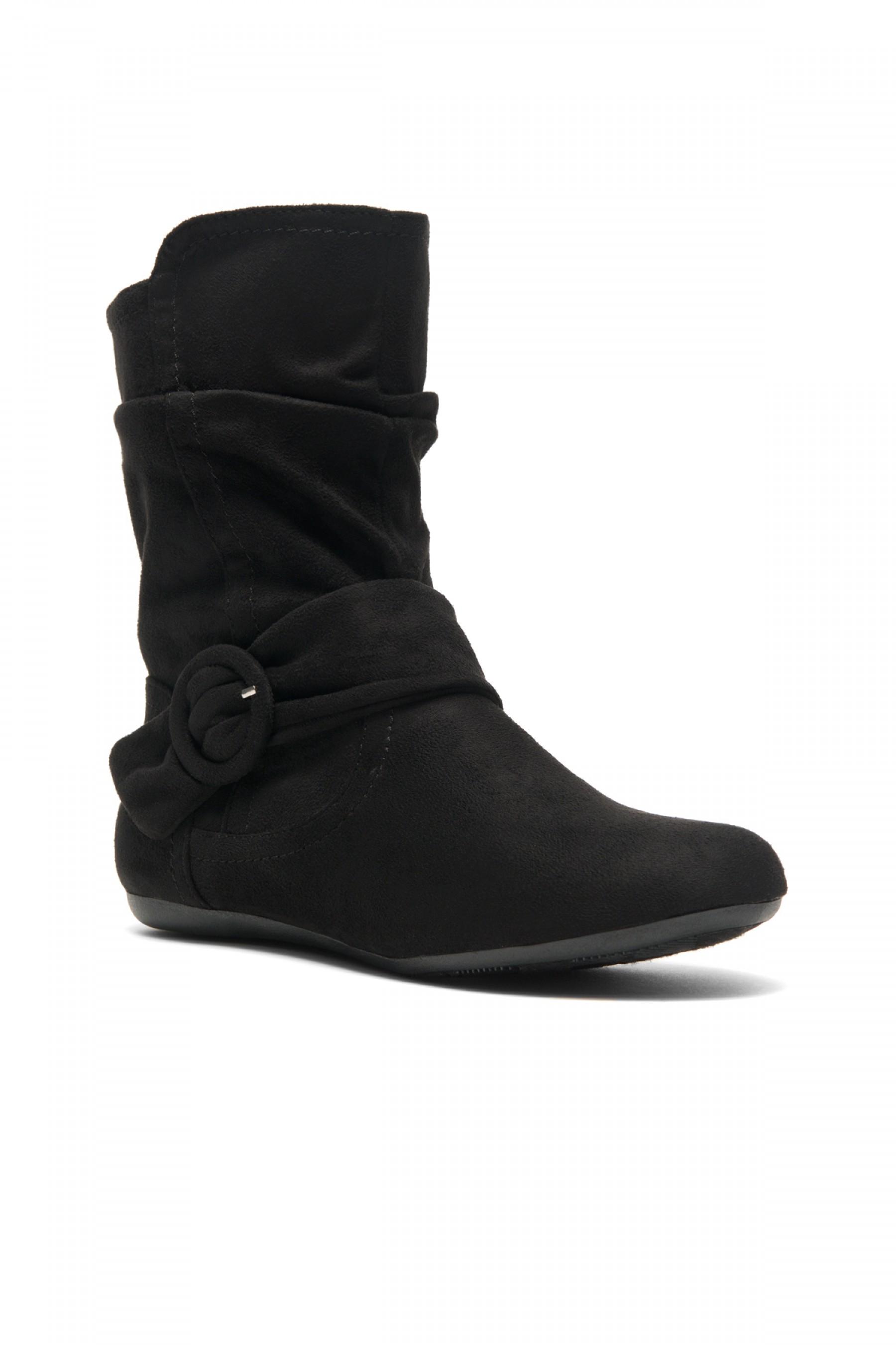 Women's Black Staaton Women's Fashion Calf Flat Heel Side Zipper, Buckled, Slouch Ankle Boots