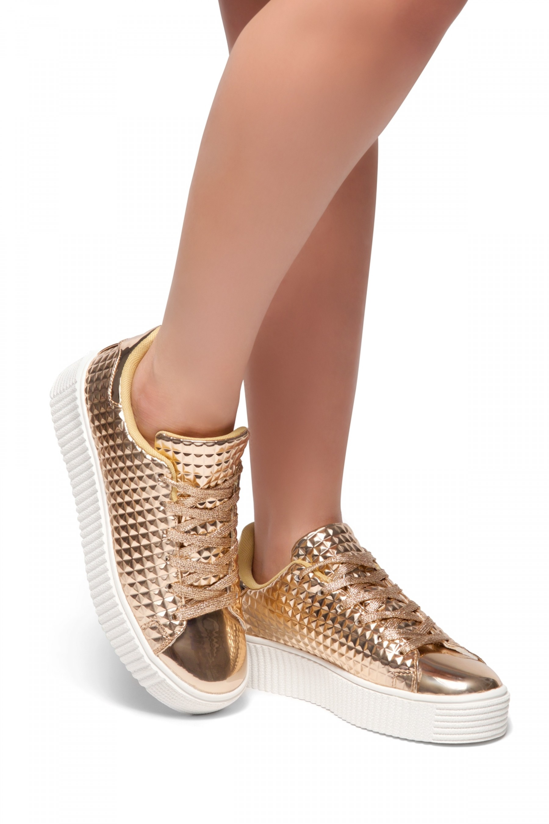HerStyle Staycey-Metallic Pyramid Sneakers (Rose Gold)