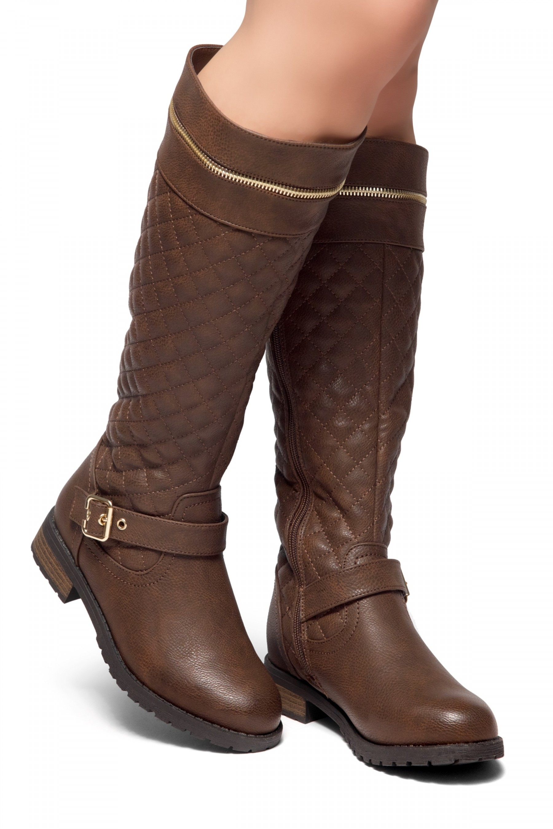 9028b59a97d6 HerStyle Street Edge-Quilted, Zipper and Buckle Trim Riding Knee ...