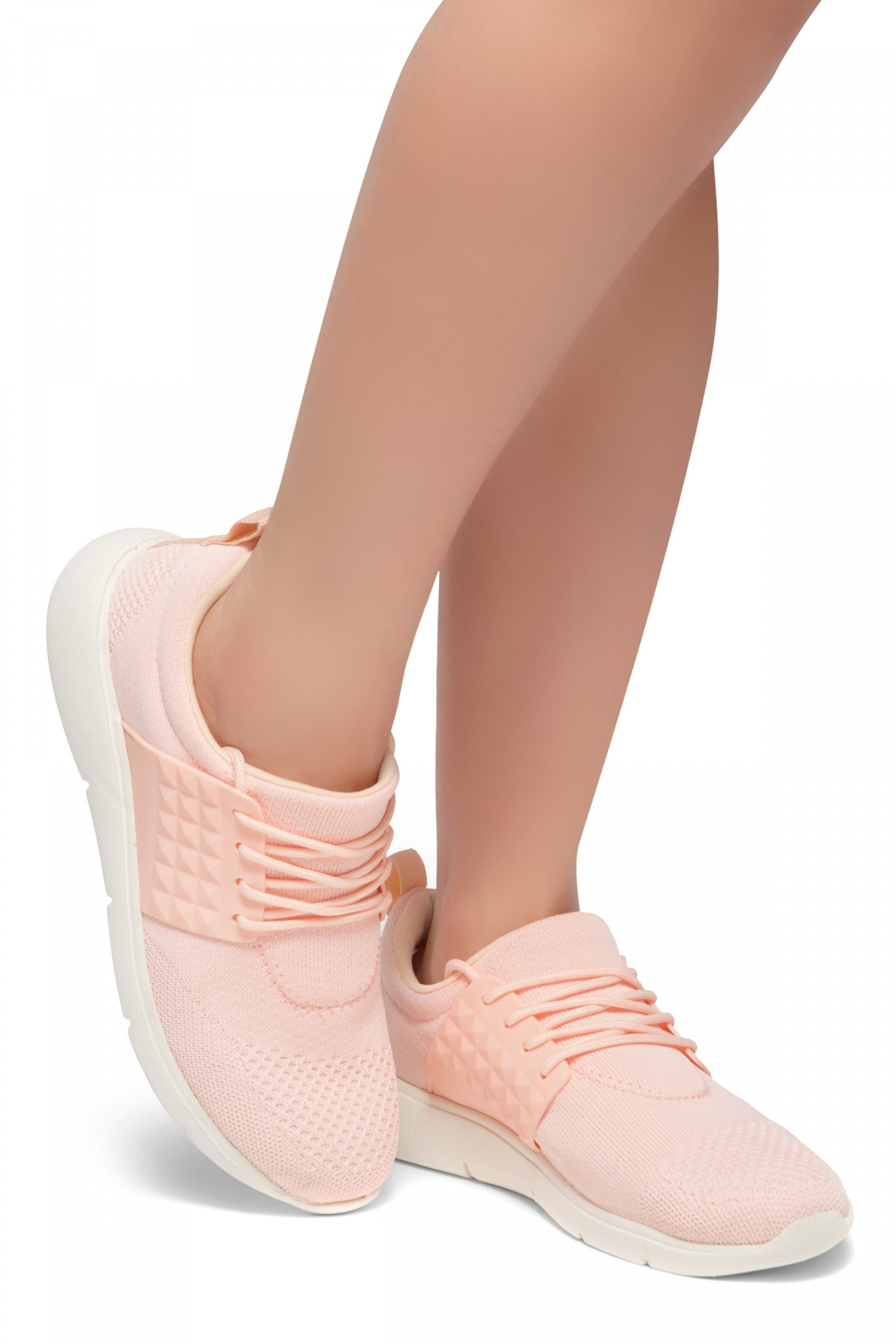 HerStyle STYLE CATCHER-Knit Lace up Rigged Sneaker (Pink)