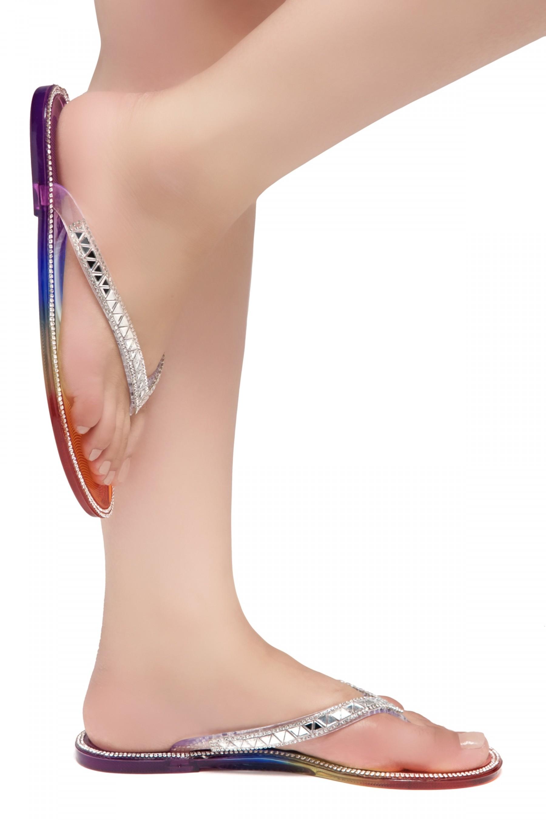 Shoe Land SUMMER-Women's Thong Jelly Flip Flops With Rhinestone (2020 MULT/SLV)