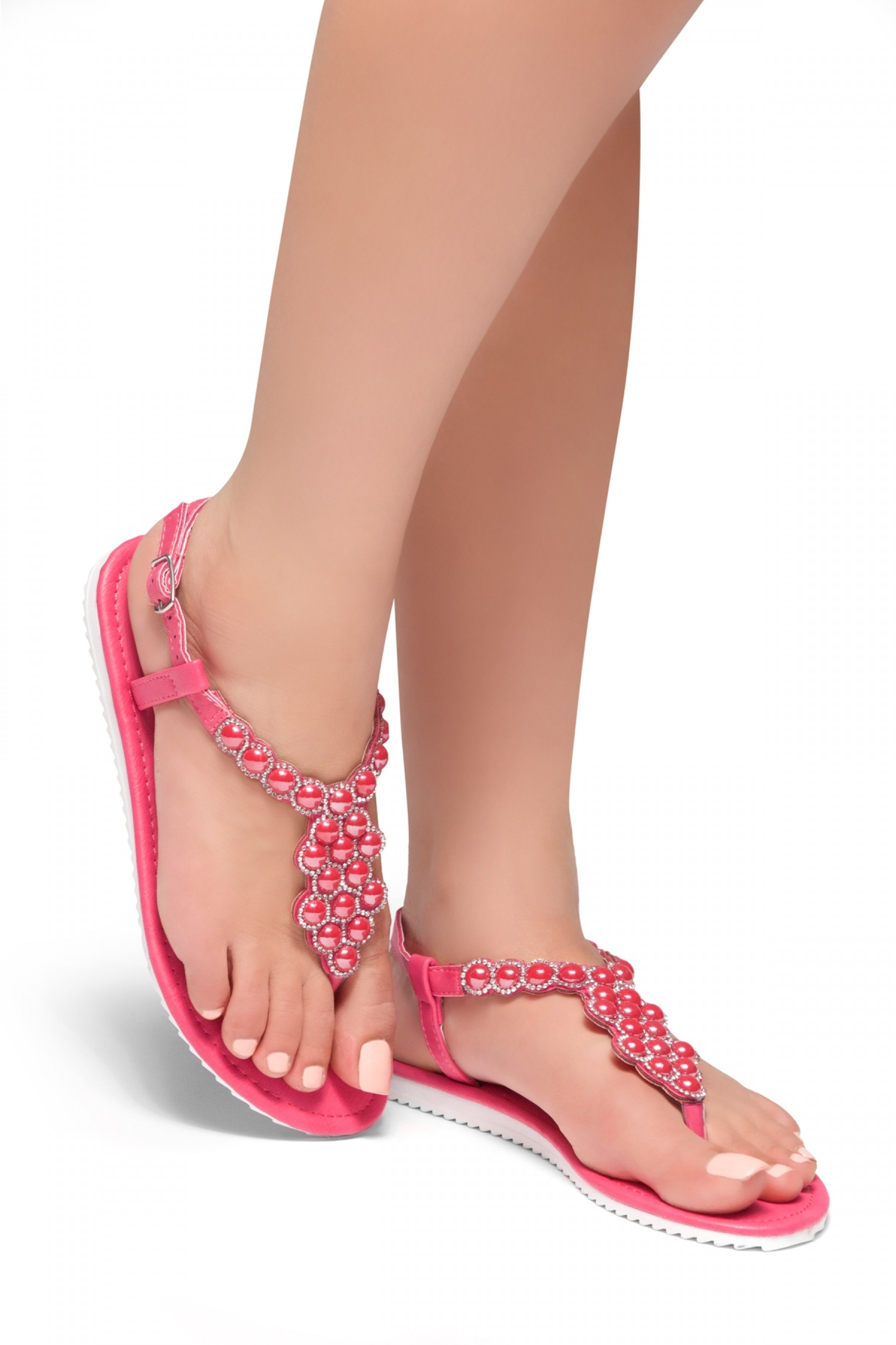 a48efad45 HerStyle Summer Grow- T-Strap Thong Sandals with Patterned Beads ...