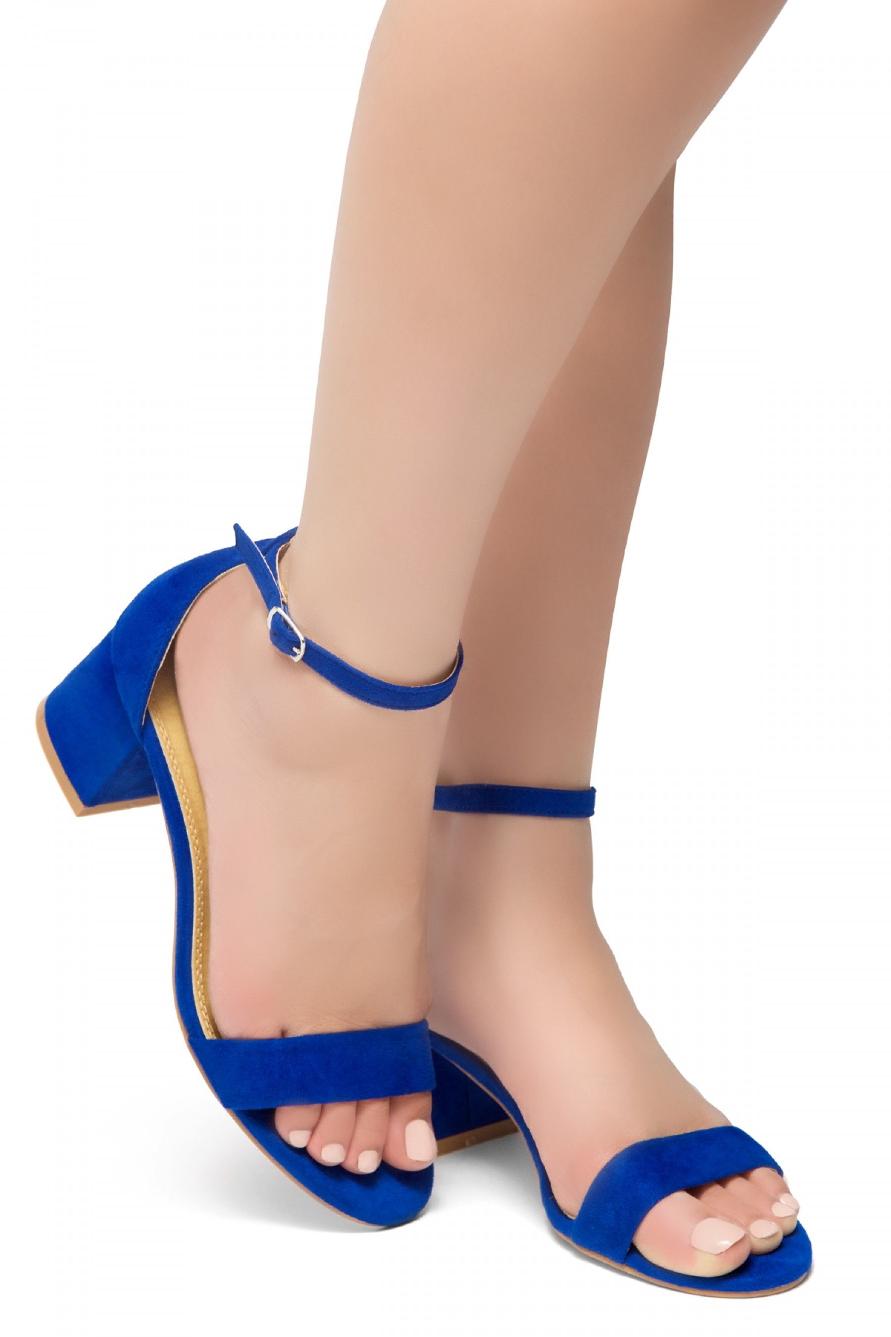 HerStyle SUNDAY-open toe, block heel,ankle strap with an adjustable buckle (RoyalBlue)
