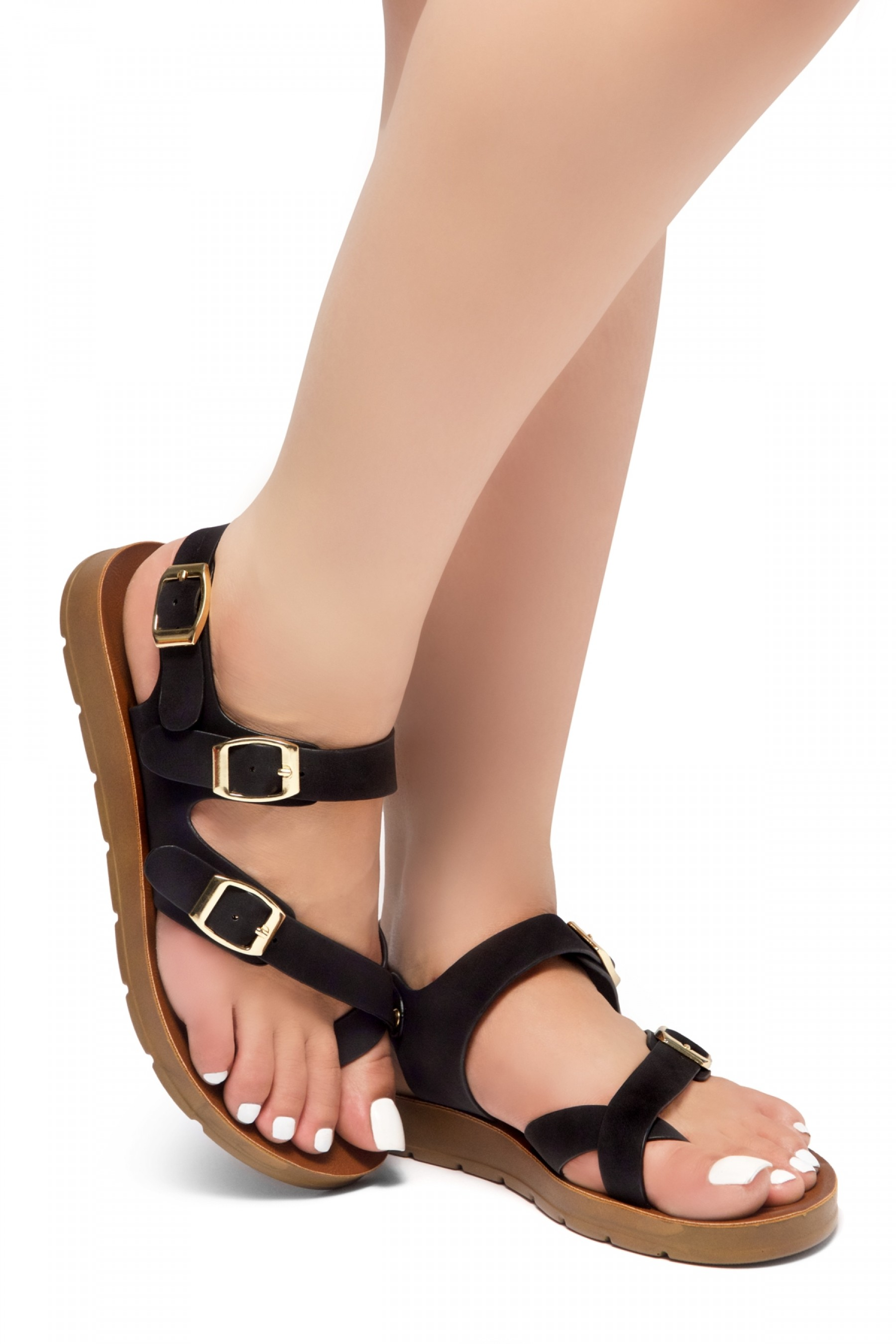 Shoe Land Women's Manmade NOLITA(SL)- Flat Sandal with buckle accents(1831/Black)