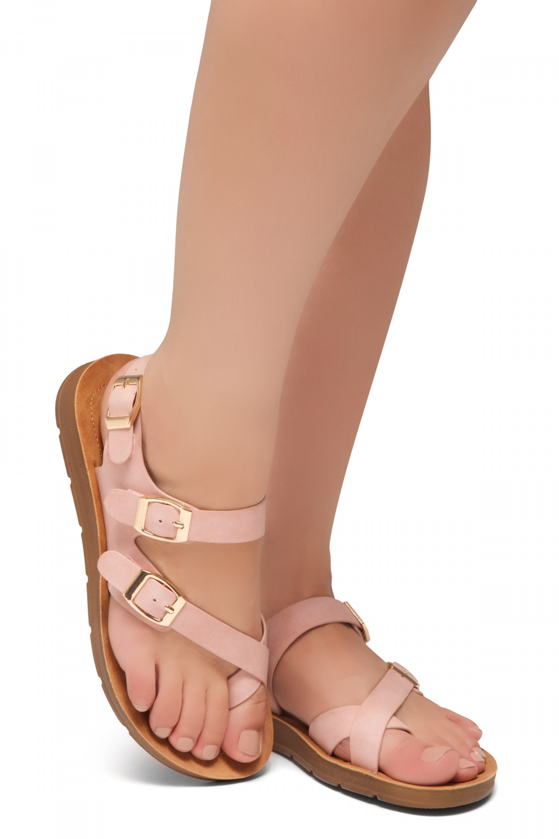 HerStyle Women's Manmade SURE THING- Flat Sandal with buckle accents(Blush)