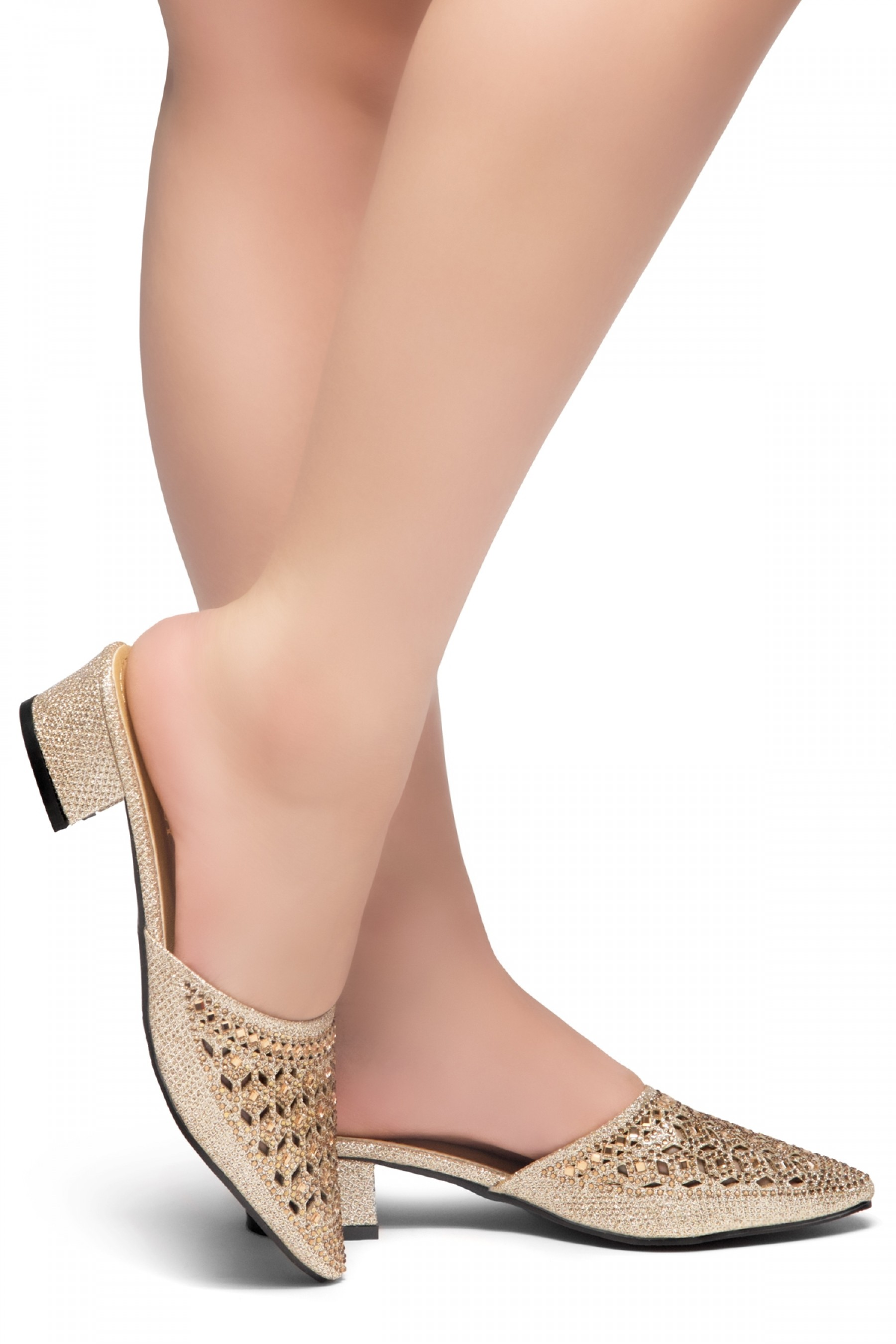 HerStyle SWEET TALK- Pointed Toe Stuck Heel jeweled embellishment vamp slipper (RoseGold)