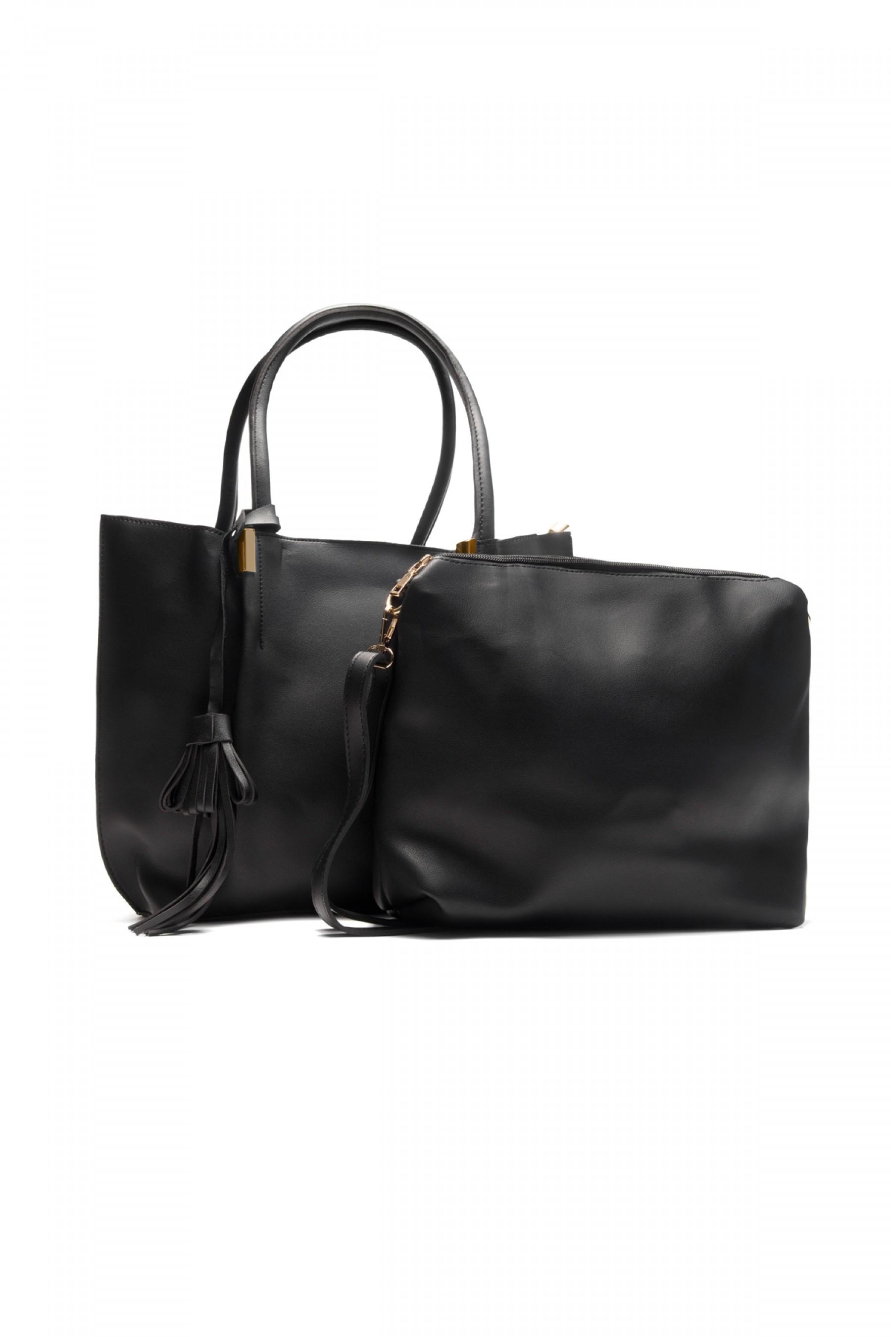 SYL-6096- Large Tassel Fashion Tote With Matching Bag (Black)