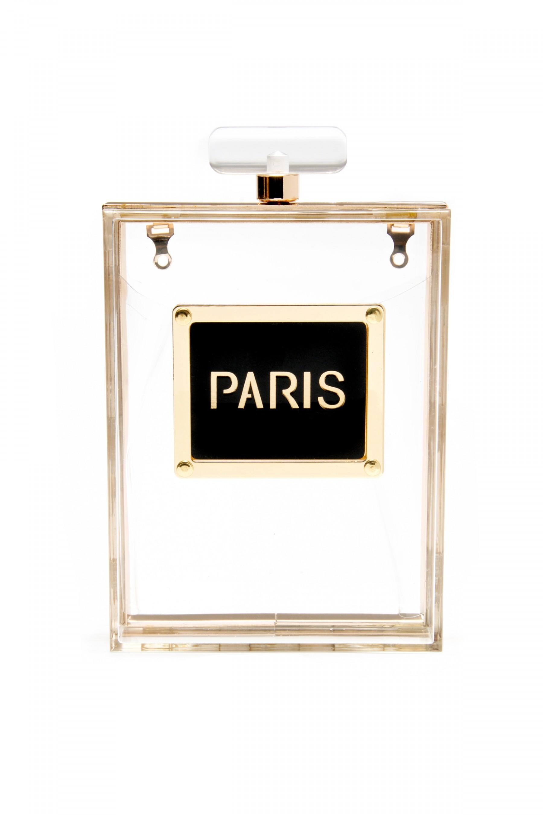 SZ13-16193- Acrylic Transparent Perfume Design Evening Bag (Clear)