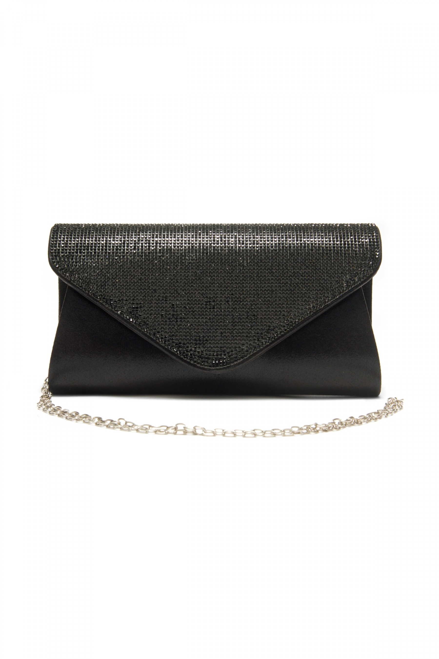SZY-E8302- Emblazoned with rhinestone women's stylish envelope purse (Black)