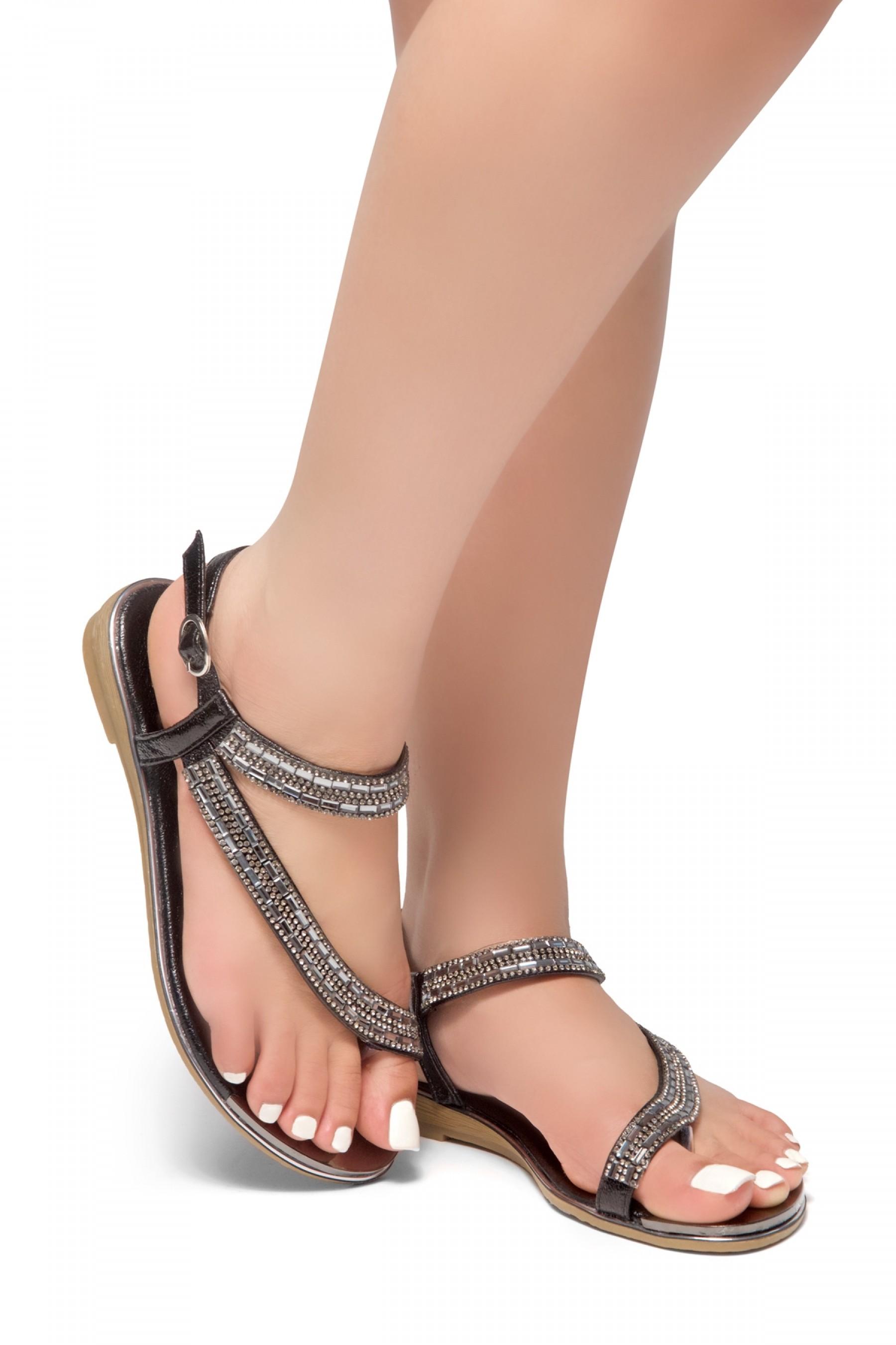 HerStyle Talluto-Rhinestone Details, Open Toe, Flat Sandals (Black)