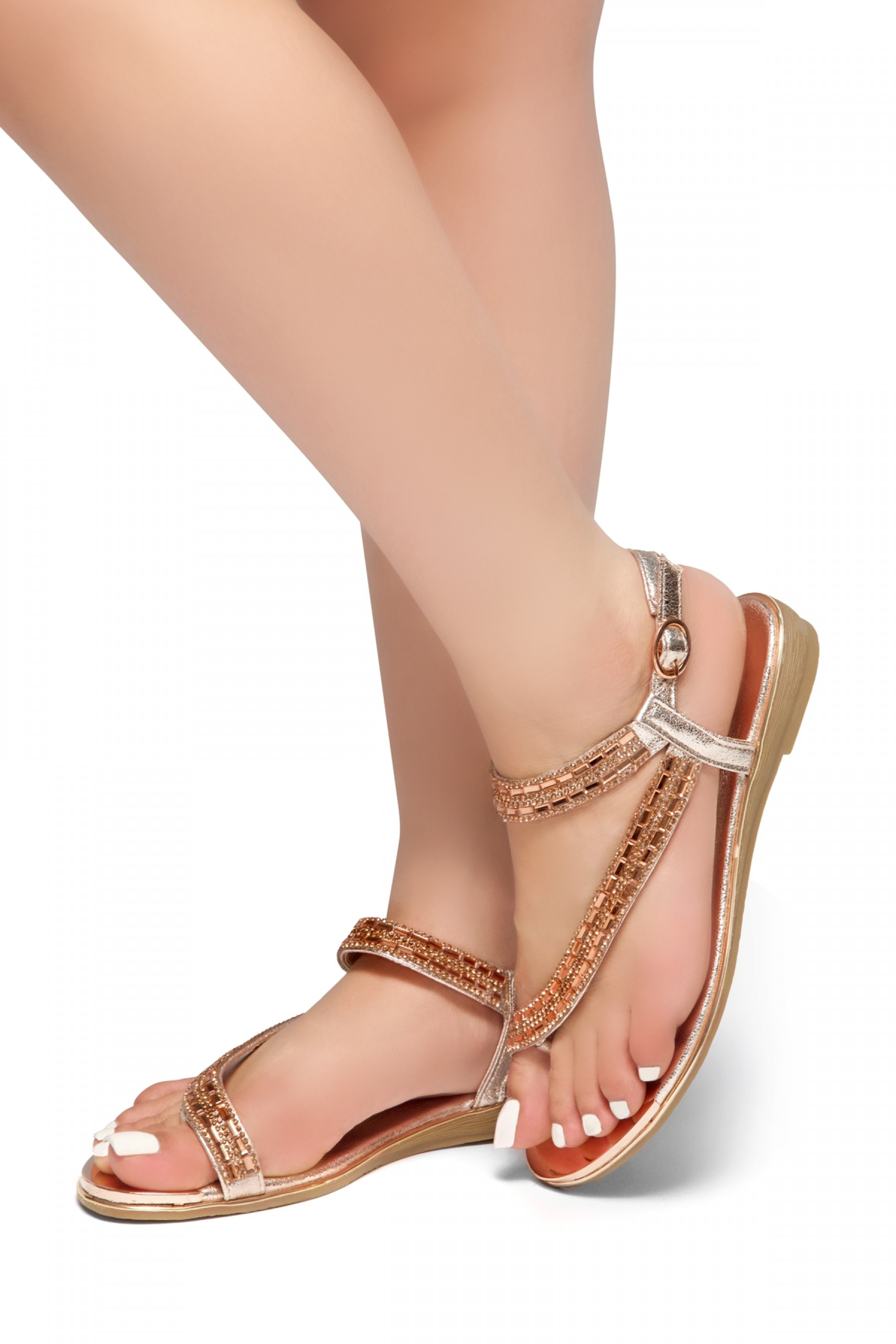 HerStyle Talluto-Rhinestone Details, Open Toe, Flat Sandals (RoseGold)