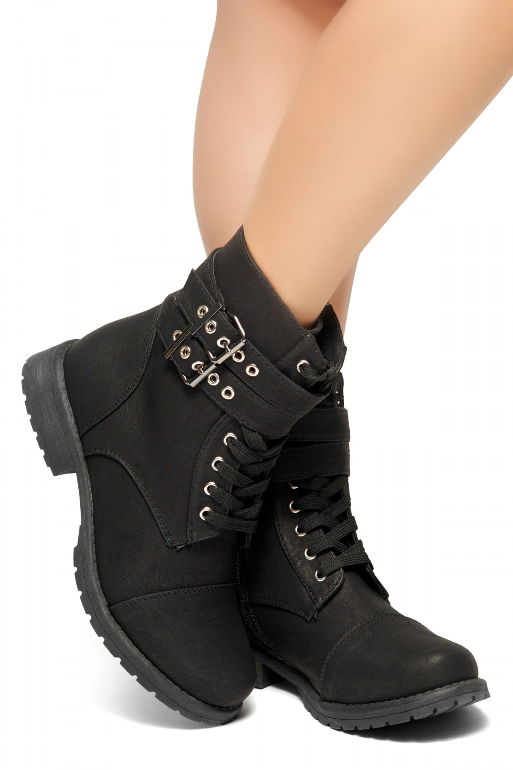 HerStyle Teen Sprit-Women's Military Ankle Lace Up Double Buckled Combat Booties (Black)