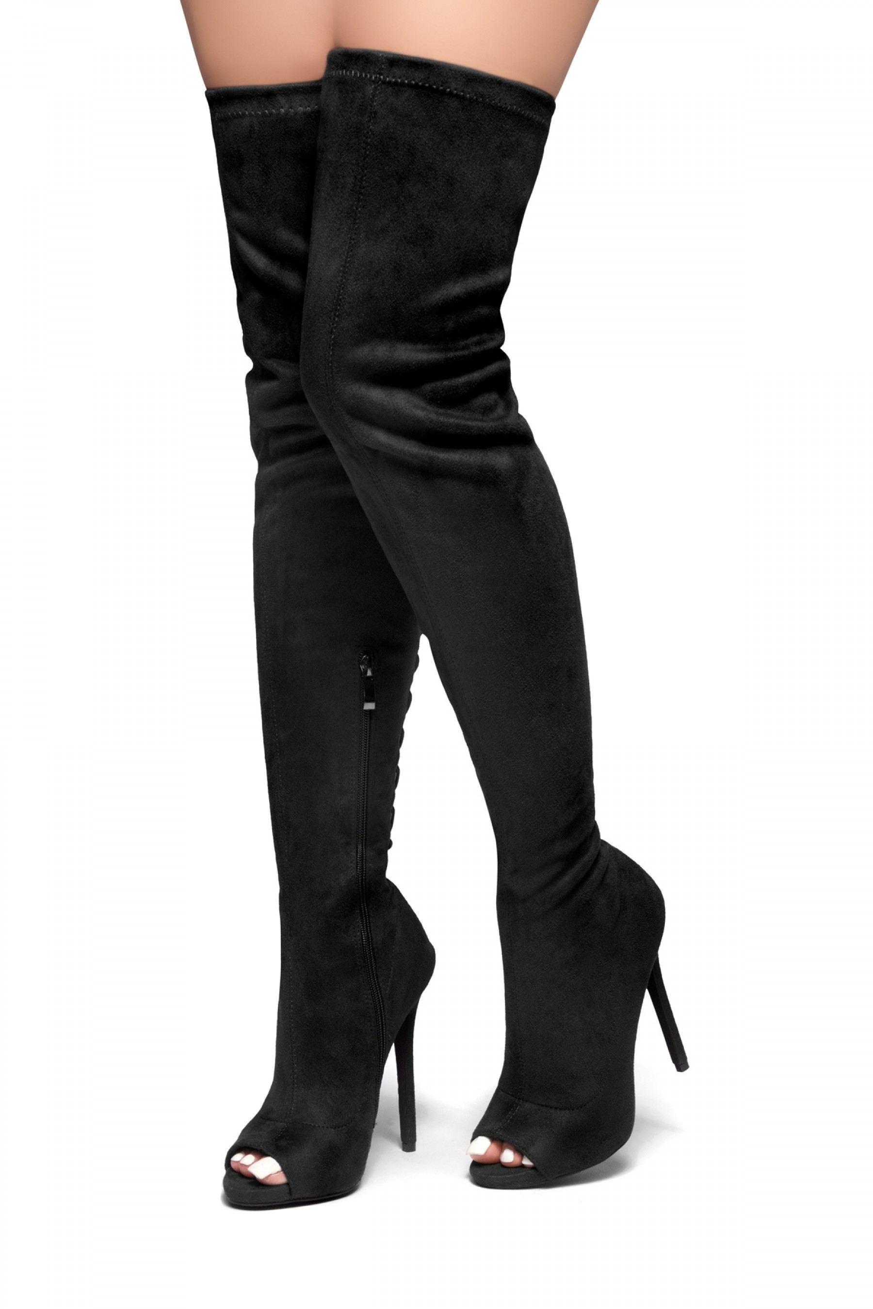 HerStyle TIMELESS MOMENTS-A peep toe, stiletto heel with tie back detail boots (Black)