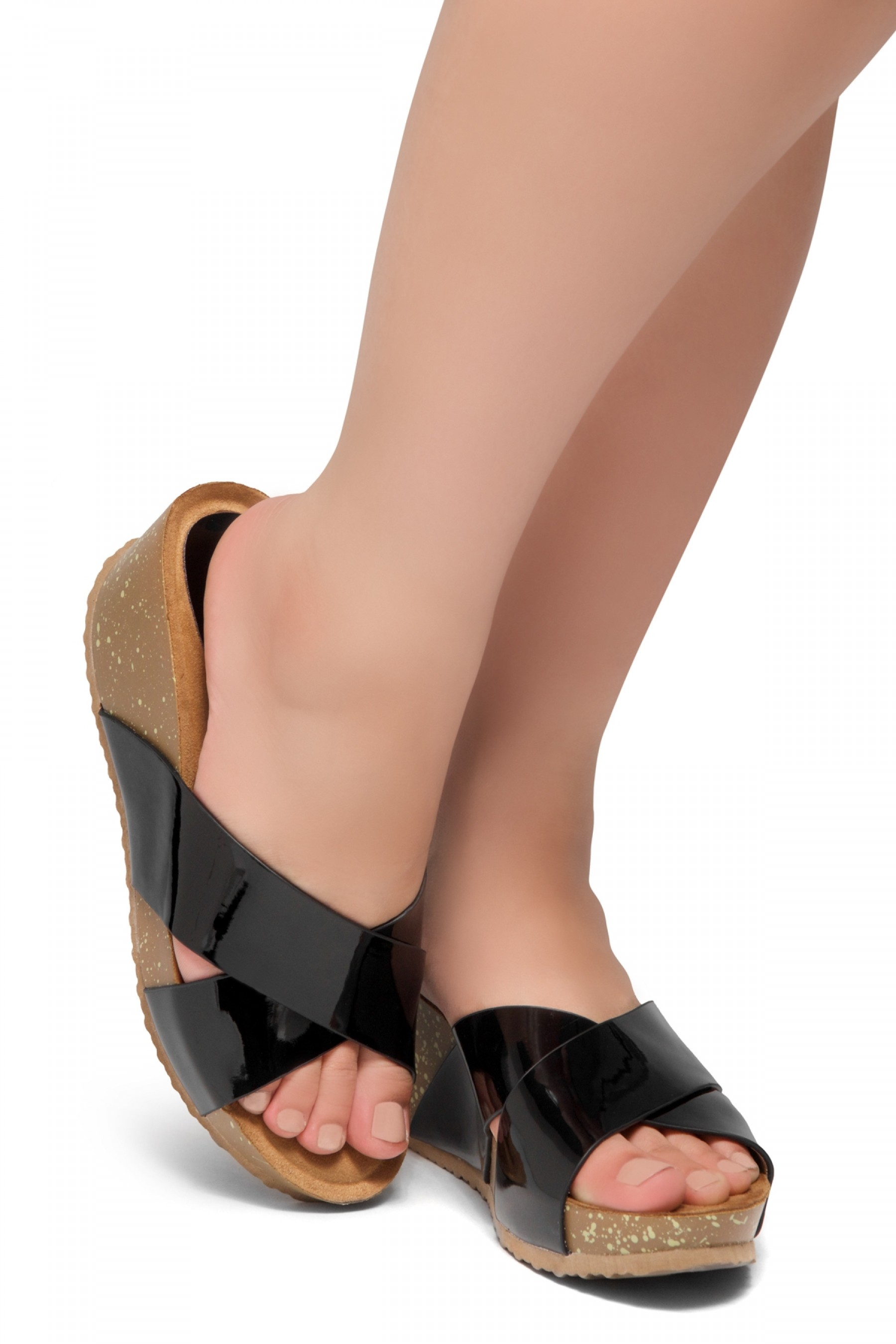 HerStyle Timmy -Crisscross Wide Straps Vamp Open Toe Slide Wedge Sandals (Black PT)