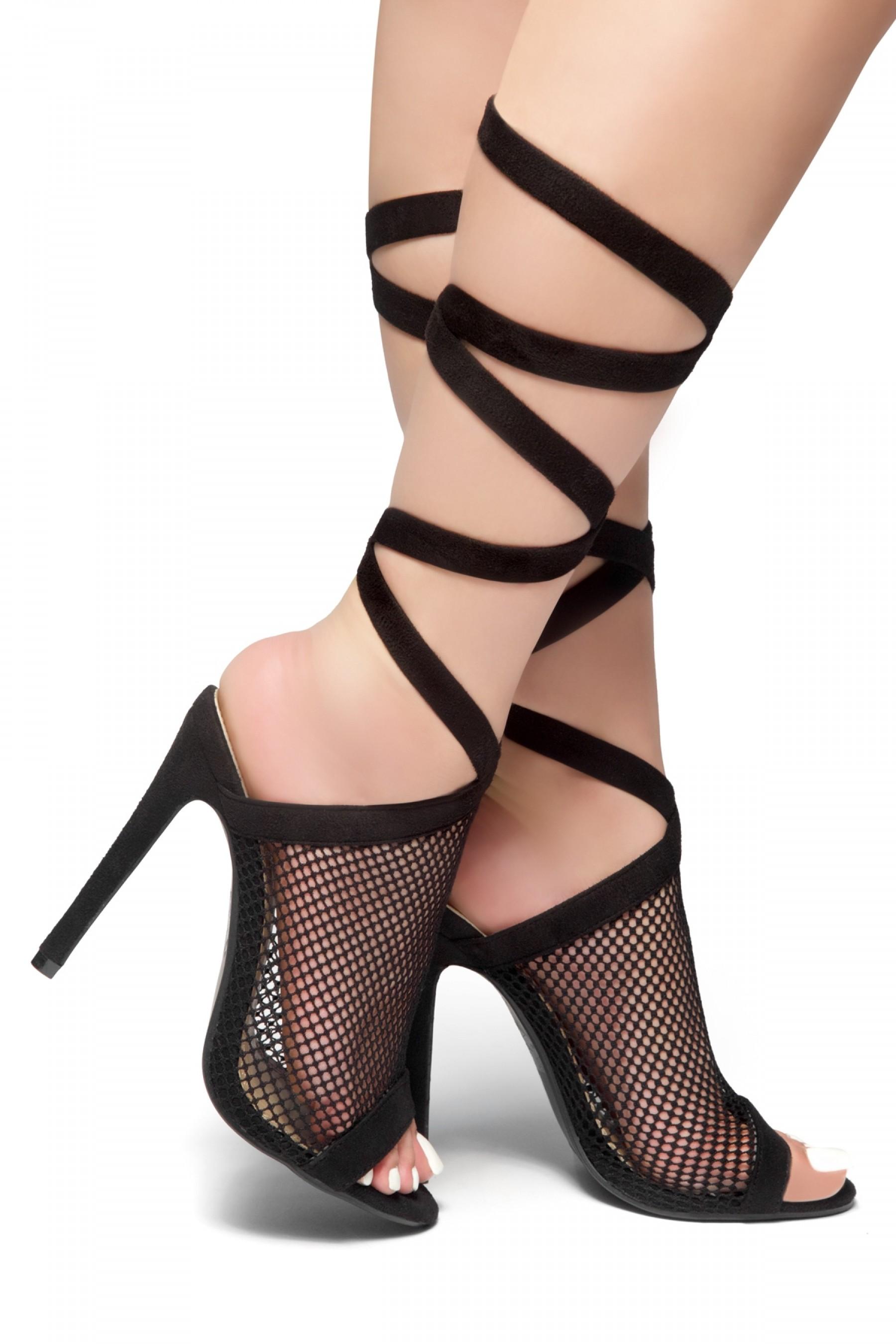 HerStyle Trend Setter- Stiletto Heel, Wraparound Ankle Tie Sandal  (BlackBlack)