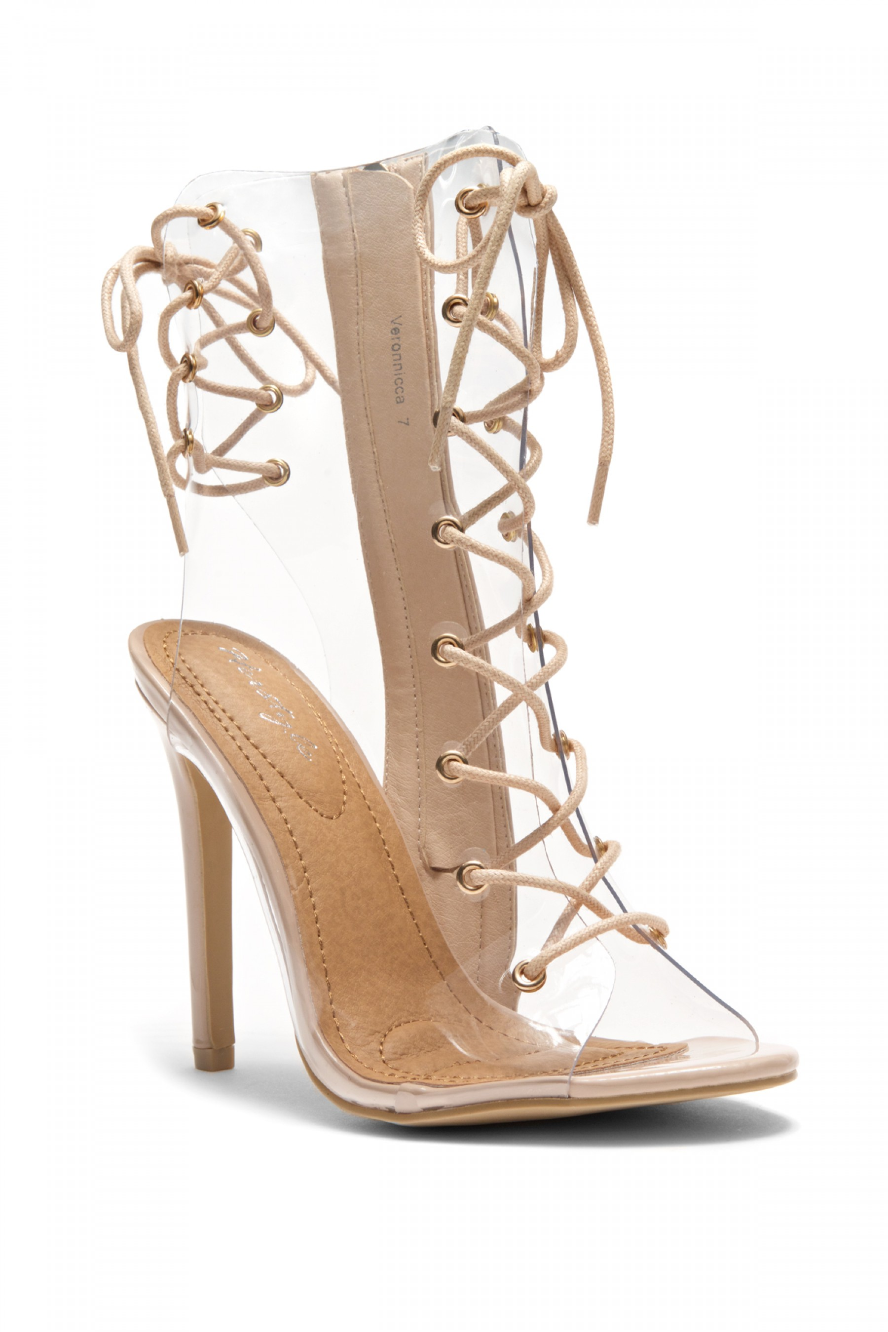 854680ebd23 HerStyle Veronnicca Lace Up Perspex Peep Toe Stiletto Boots (Clear ...