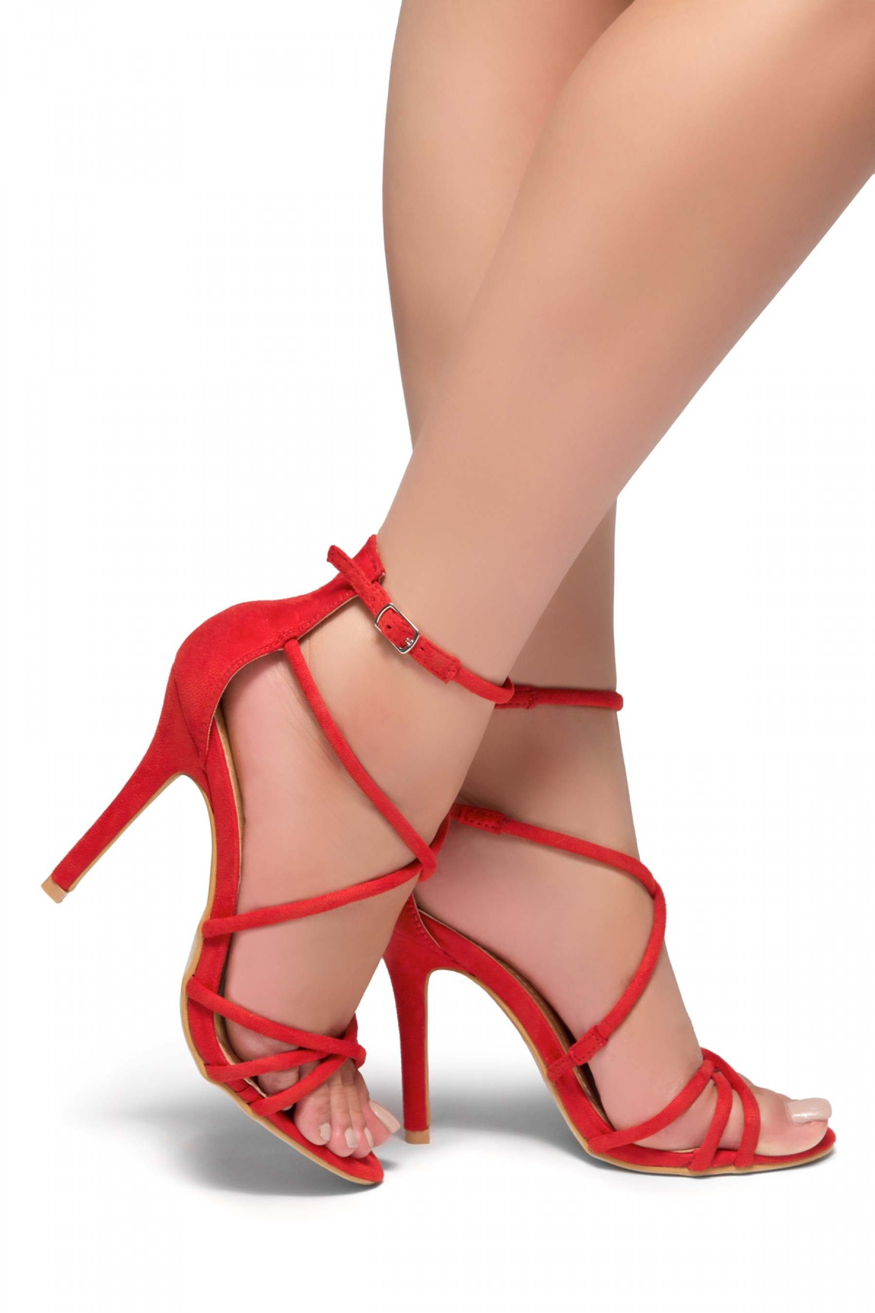 HerStyle Villarosa-Stiletto heel, gladiator construction, ankle strap (Red)