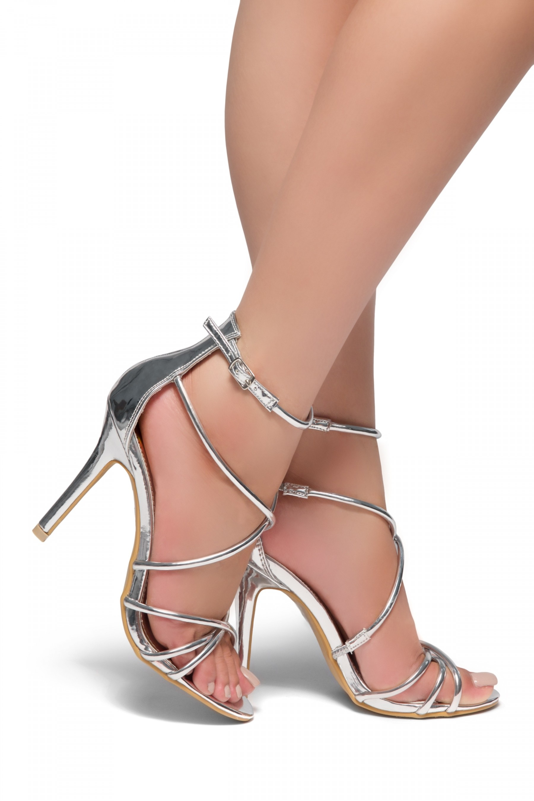 Villarosa-Stiletto heel, gladiator construction, ankle strap (Silver)