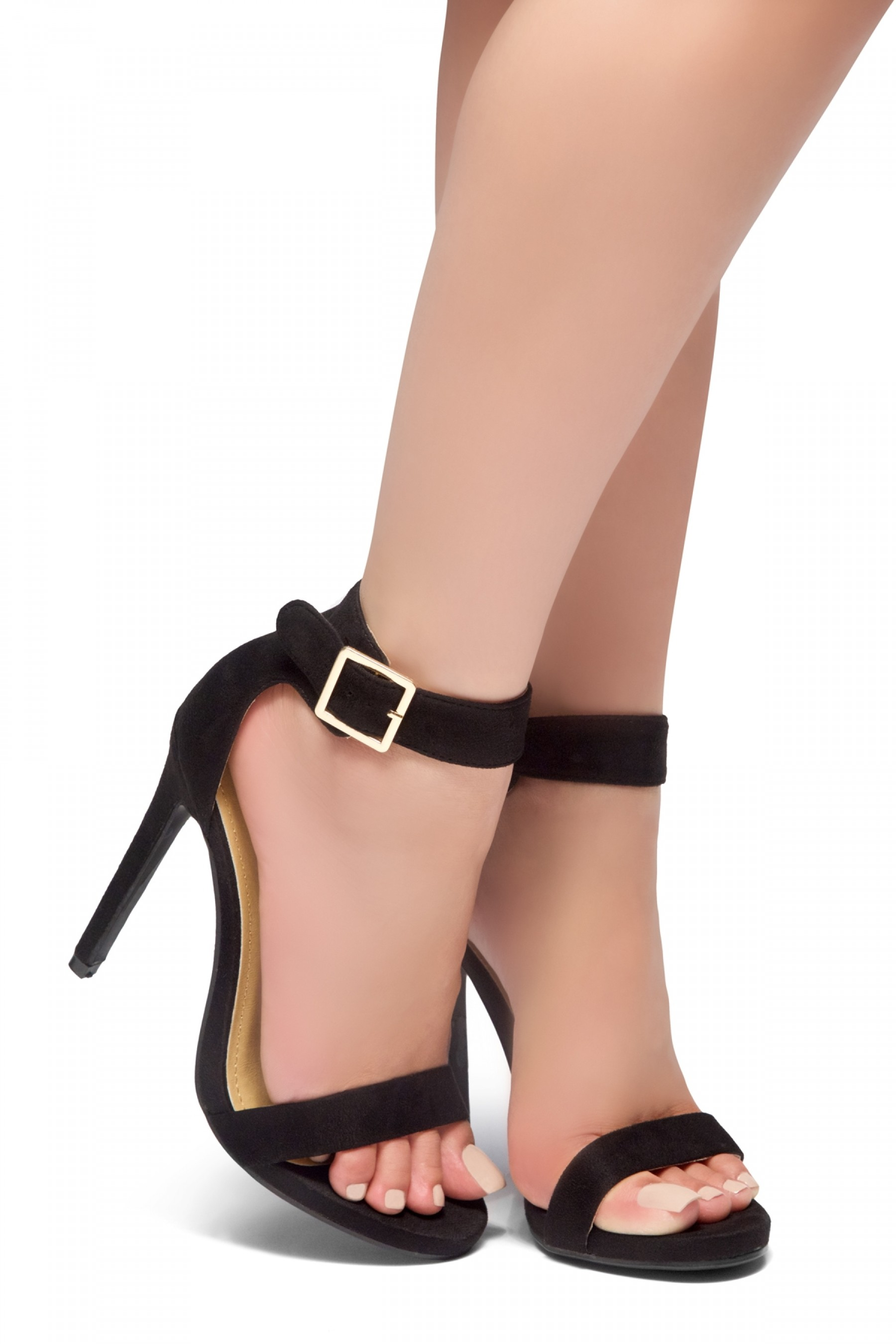 HerStyle ZOANNA-TWICE FUN-Stiletto heel, Strap around the toe Heels (Black)