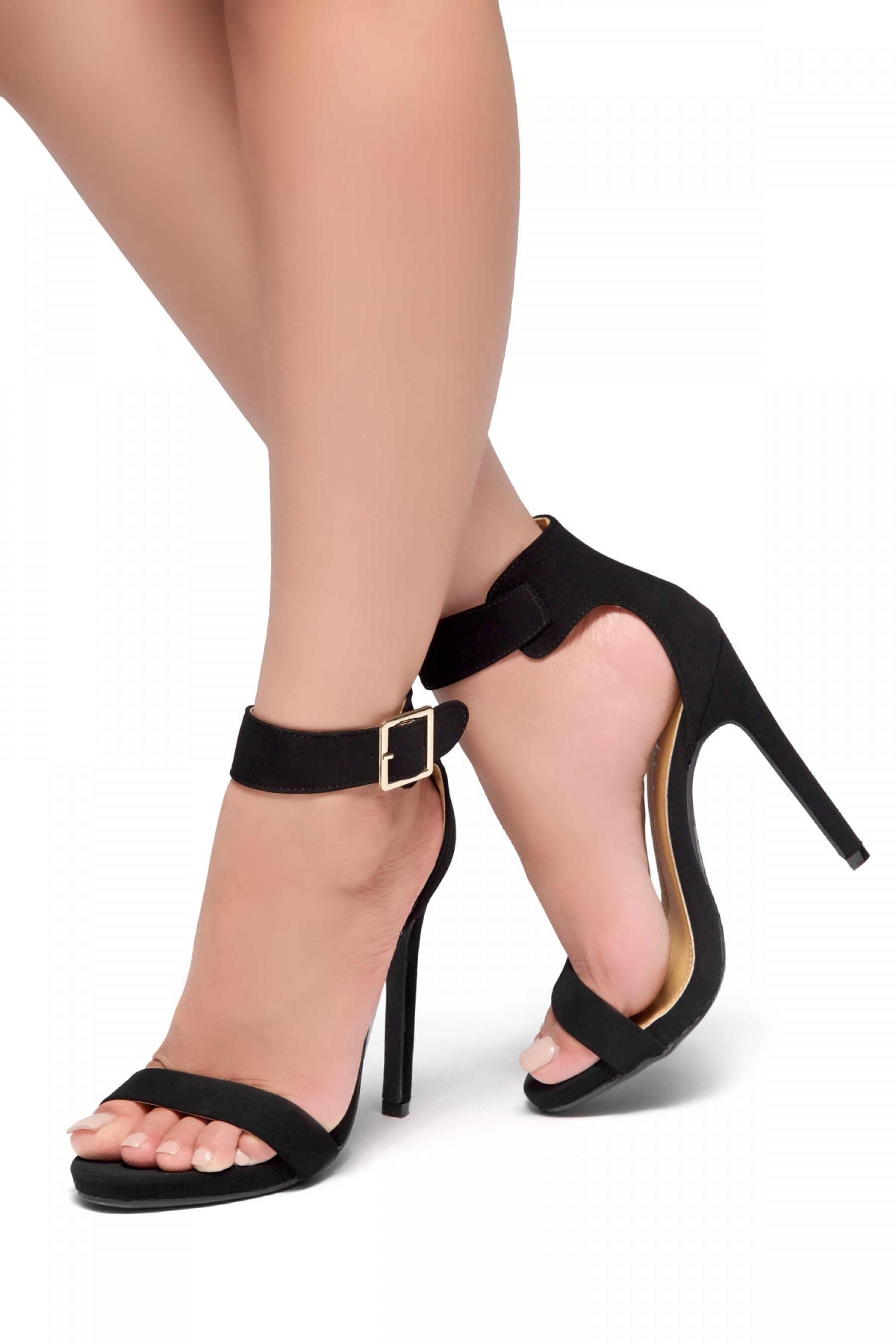 HerStyle Zoanna-Stiletto heel, Strap around the toe, Platform (Black)
