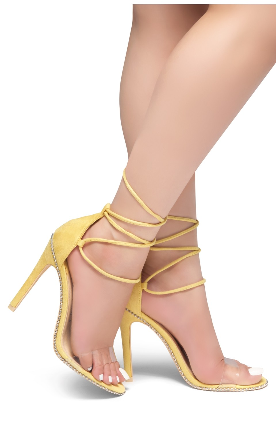 HerStyle Caveena- Suede Back Closure, Ankle-Tie lace up, Open Toe Stiletto Heel (Yellow)