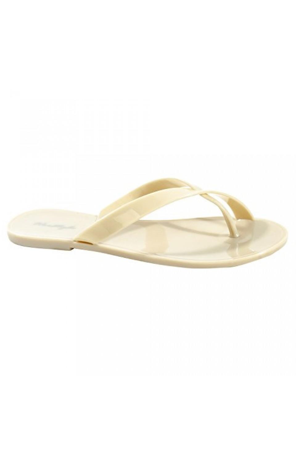 Women's Nude Manmade Saona Flat Jelly Sandal with Crisscross Thong Strap