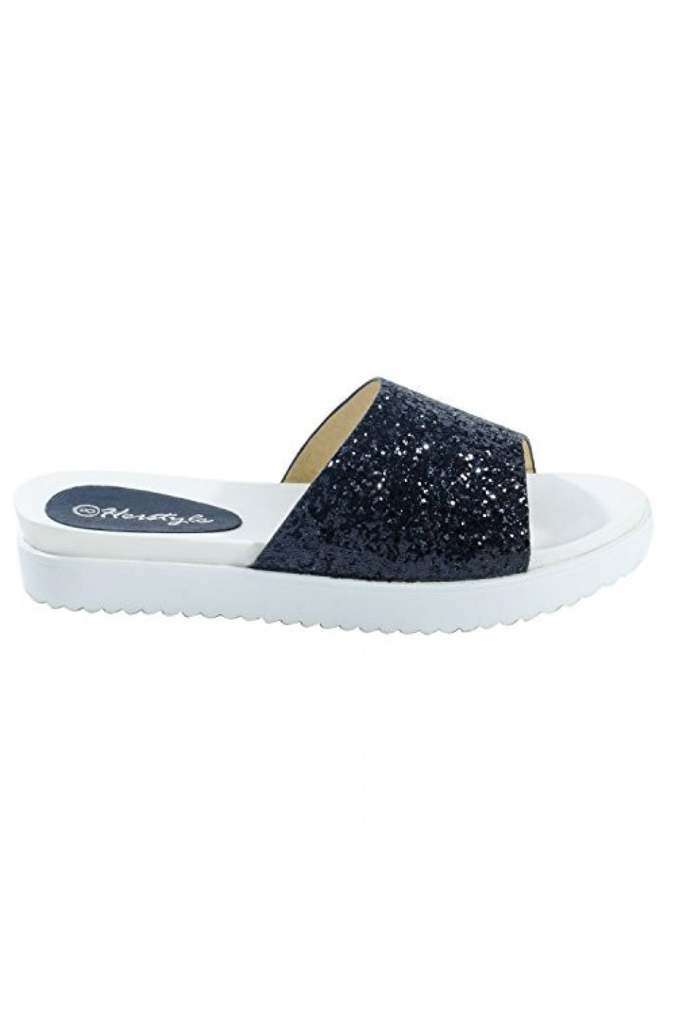 Women's Black Manmade Shearly Low Wedge Sandal with Glitzy Upper