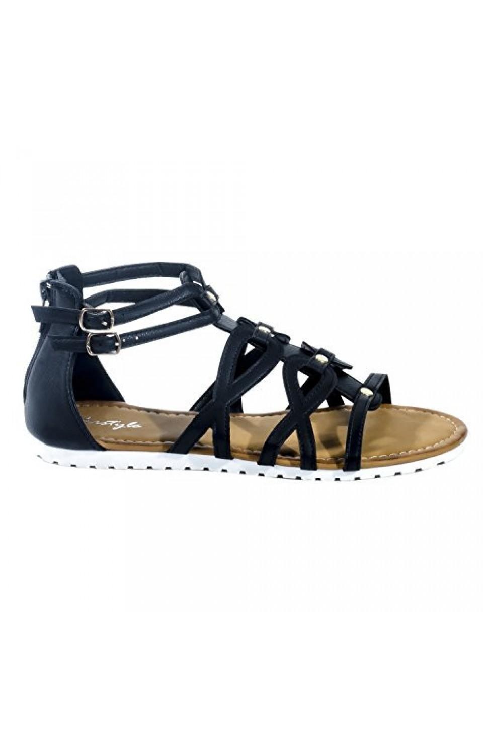 Women's Black Manmade Gwennaa Gladiator Sandal with Metallic Studs