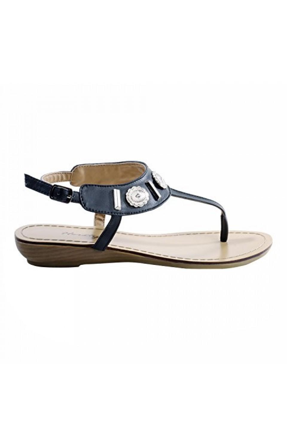 Women's Black Veranda Manmade Flat Sandal with Flirty Metallic Accents