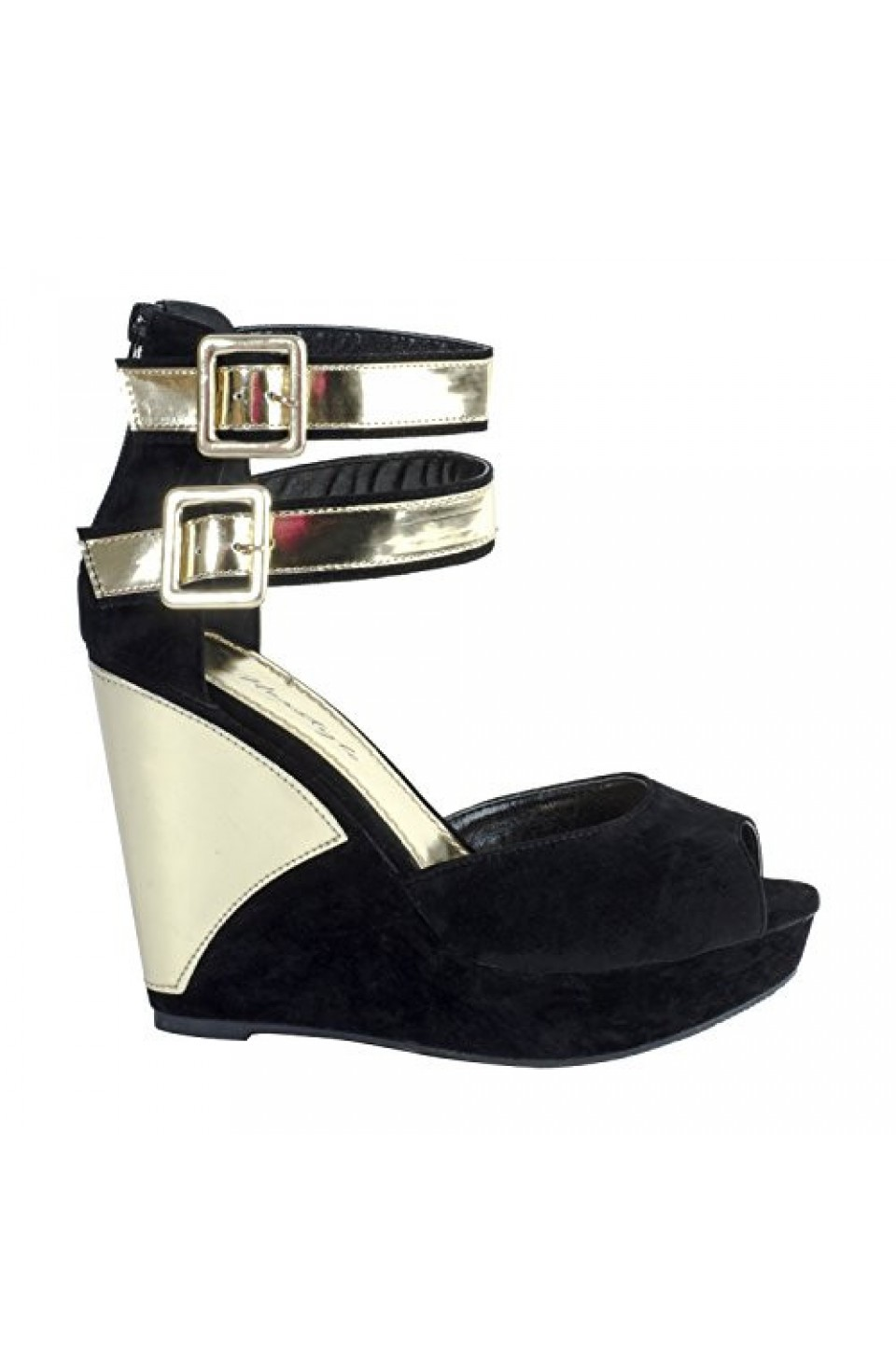 Women's Black Lauuriin Manmade Wedge Sandal with Gold-Tone Ankle Wrap