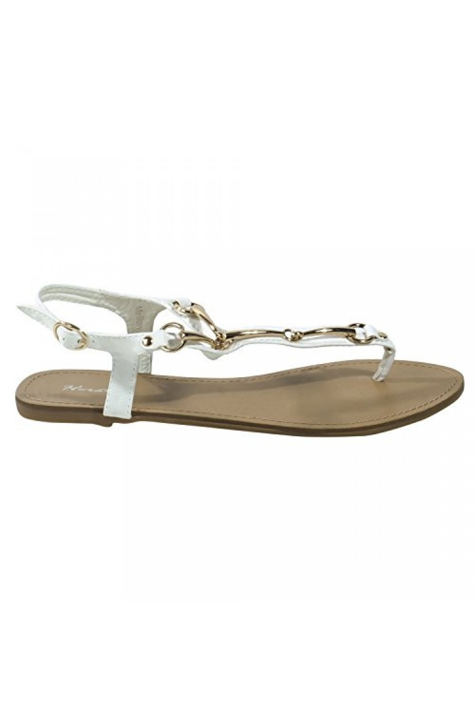 Women's White Manmade Melllow Ankle Strap Sandal with Gold-Tone Curved Accents