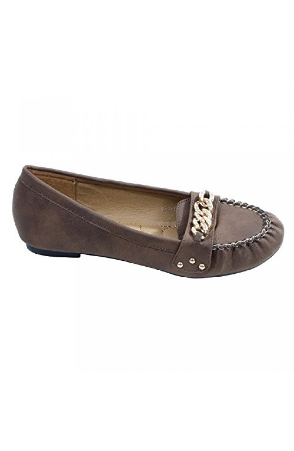 Women's Brown Kaylen Manmade Moccasin Flat with Studded Twist