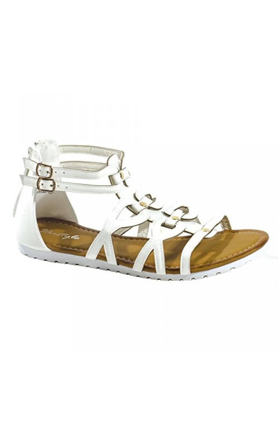 Women's White Manmade Gwennaa Gladiator Sandal with Metallic Studs