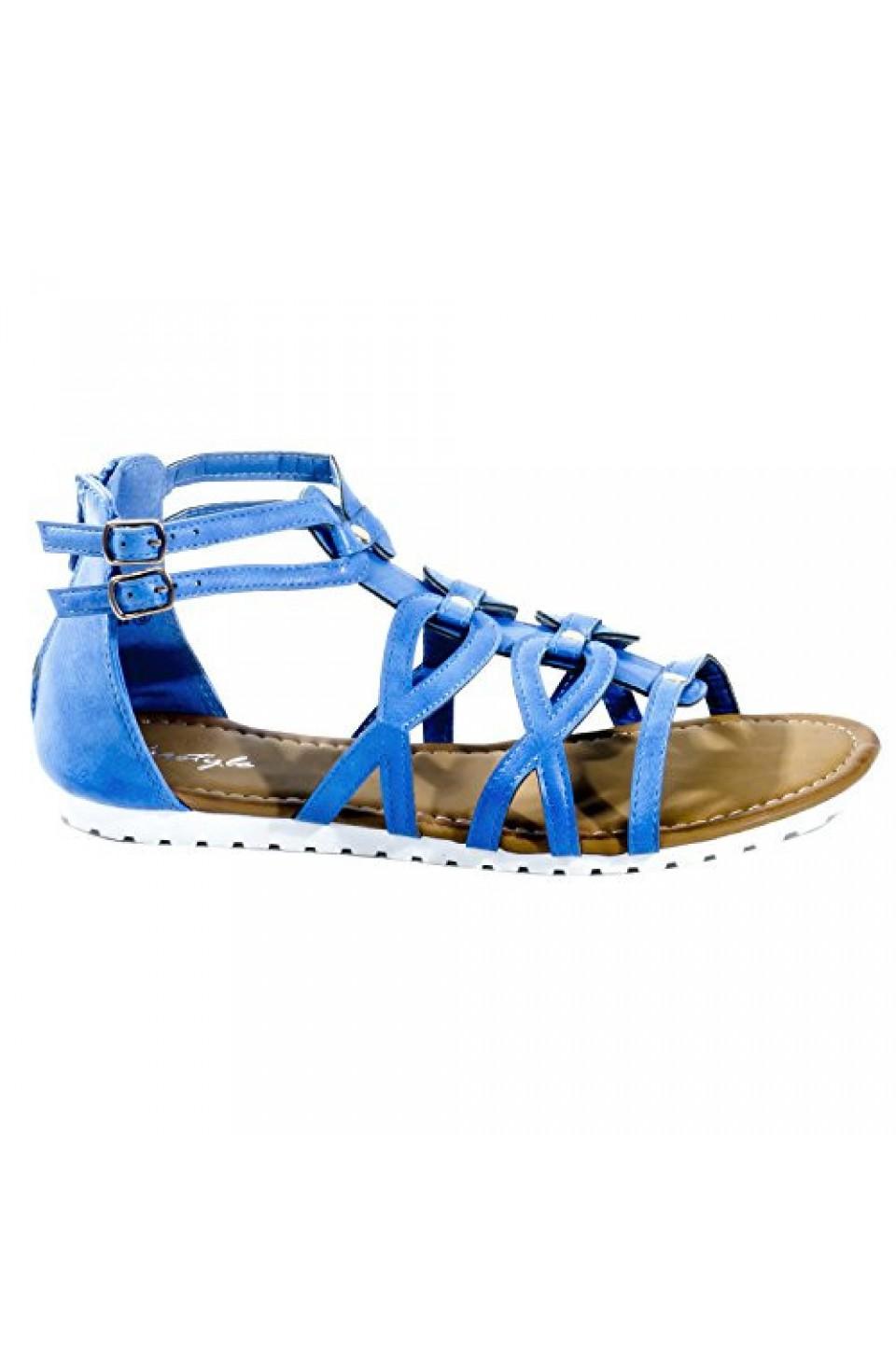 Women's Royal Blue Manmade Gwennaa Gladiator Sandal with Metallic Studs