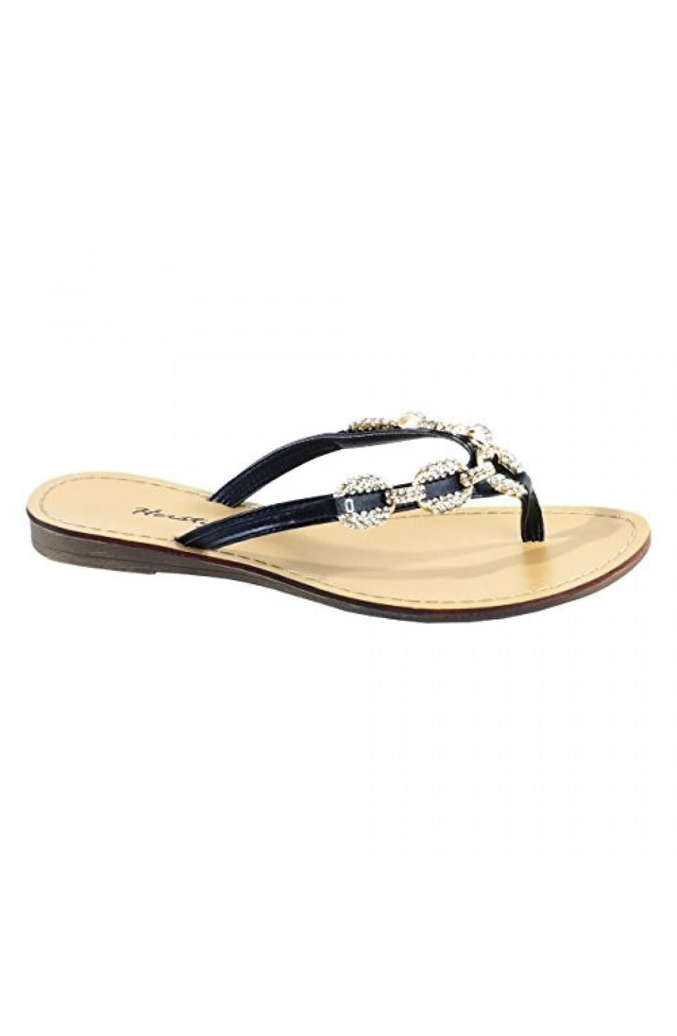 Women's Black Janiesa Manmade Flat Thong Sandal with Glowing Jeweled Chain