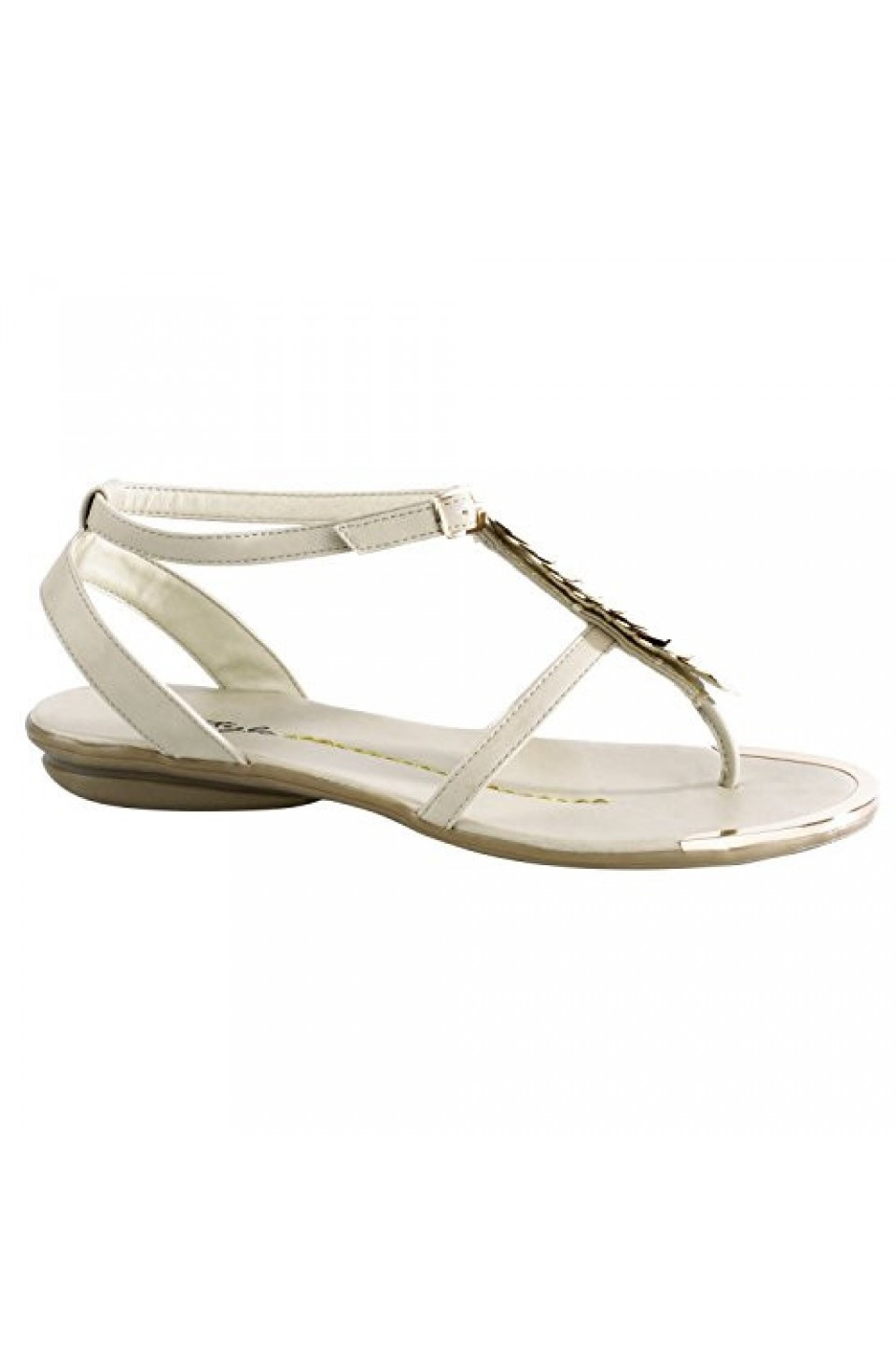 Women's Beige Bazooka Thong Sandal with Gold Toned T-Strap
