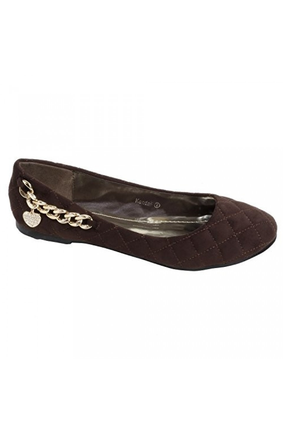 Women's Brown Kendall Manmade Quilted Flat with Bold Charm Chain