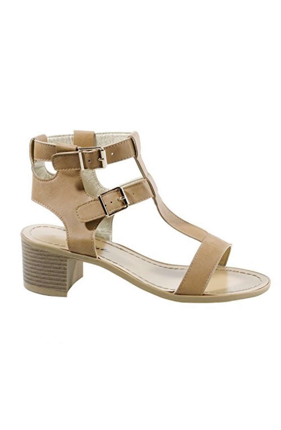 Women's Camel Carson Manmade Heeled Sandal with Stylish Double Buckle