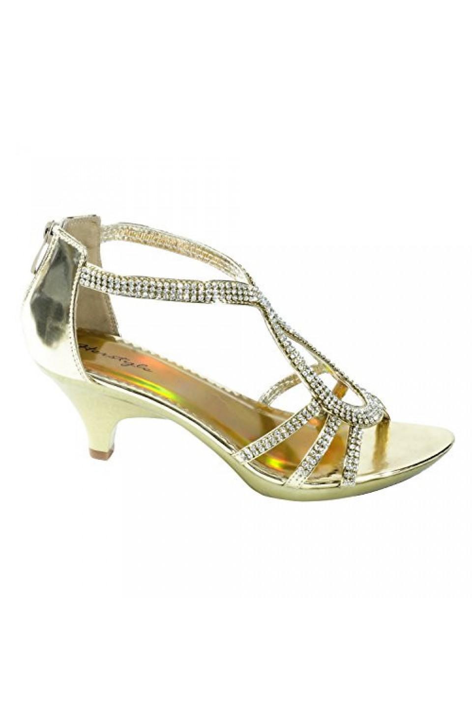 Women's Gold Manmade Maddyra Glowing Low-Heeled Sandal with Rhinestone Straps