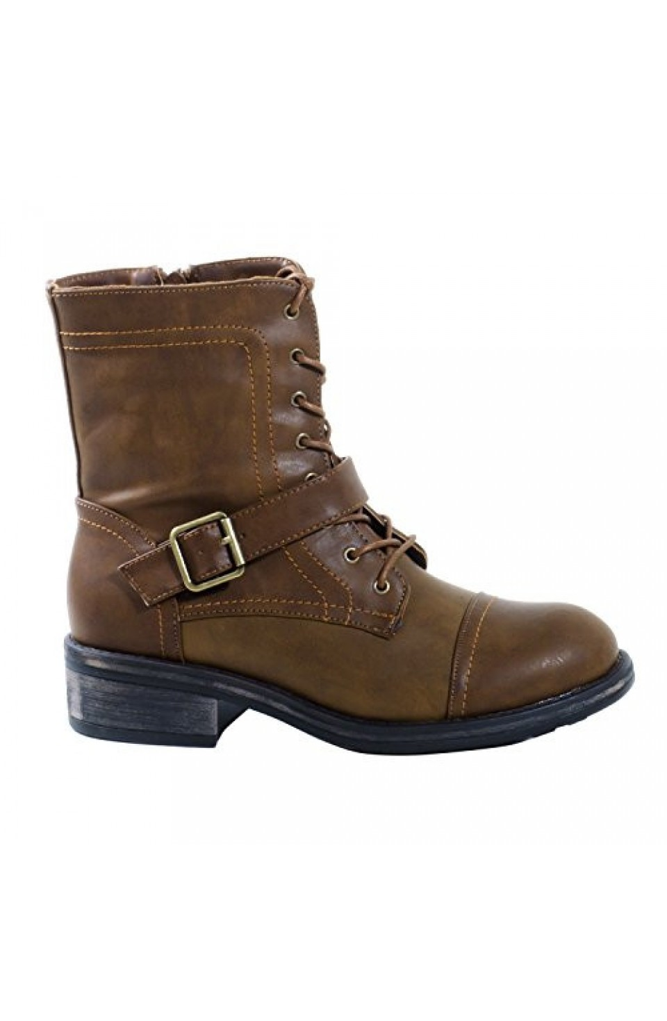 Women's Brown Manmade Helenna Ankle Boot with Buckle Strap