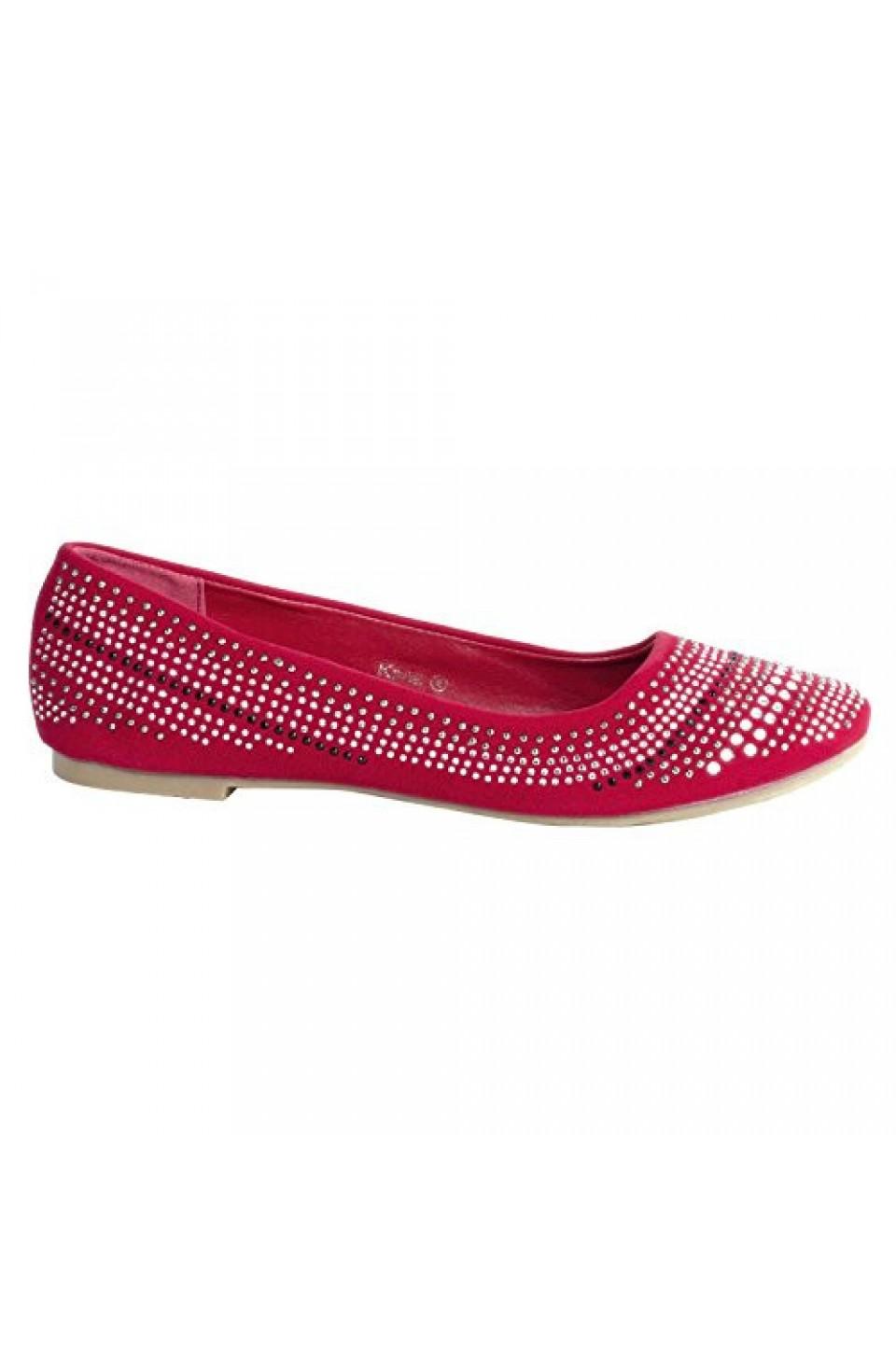 Women's Red Kana Manmade Chic Ballet Flat with Glittering Jewel Design