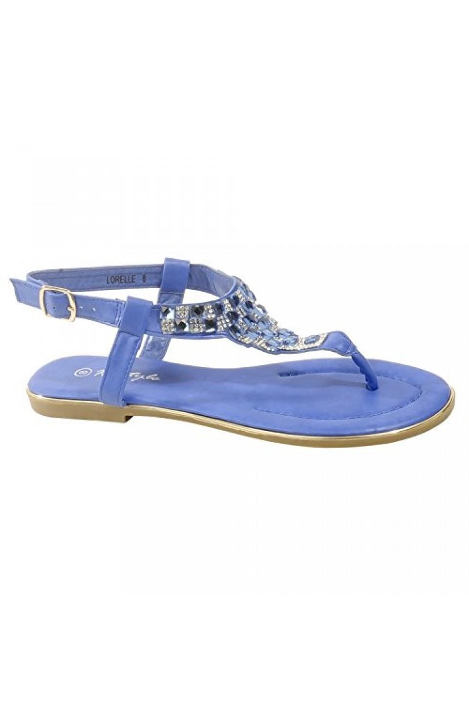 Women's Royal Blue Manmade Lorelle Thong Sandal with Patterned Jewel Vamp