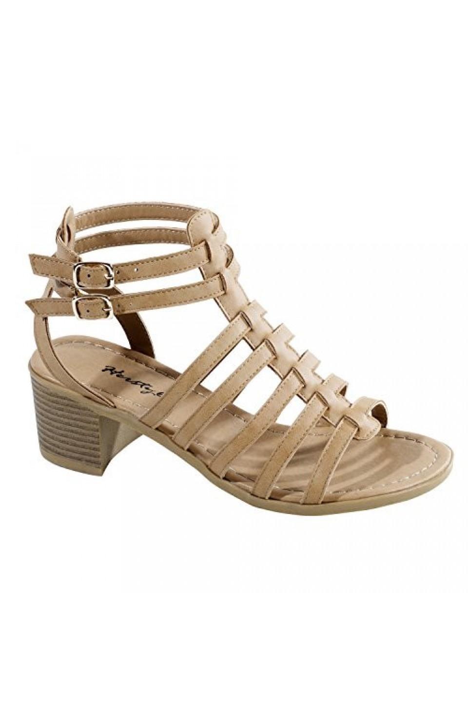 Women's Camel Giusti Manmade Gladiator-Style Heeled Sandal