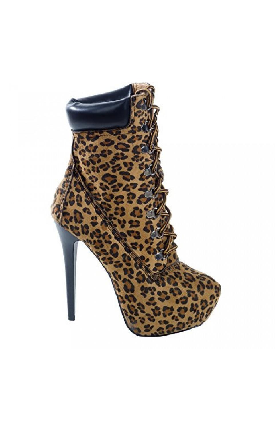Women's Leopard Manmade Slleexi 5.5-inch Animal Print Stiletto Booties