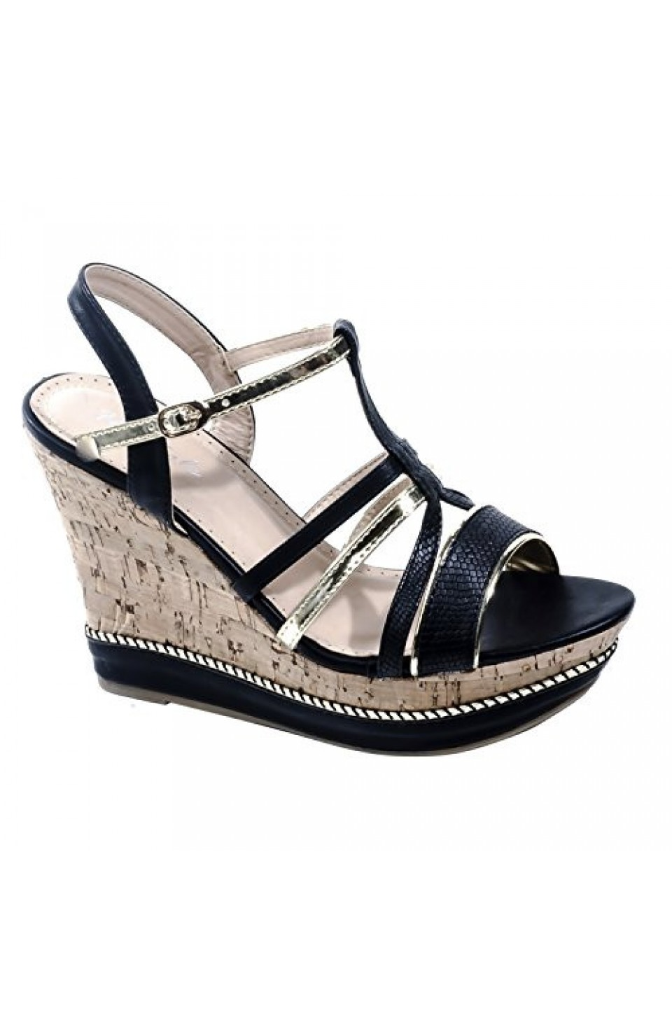 Women's Black Gold Manmade Varcitty 5-inch Wedge Sandal with Gleaming Metallic Straps