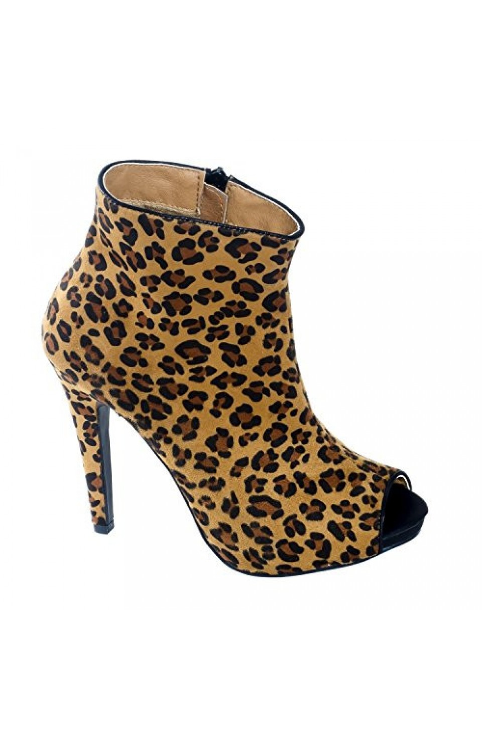 Women's Leopard Marcoo Manmade Zip-up Stiletto Bootie